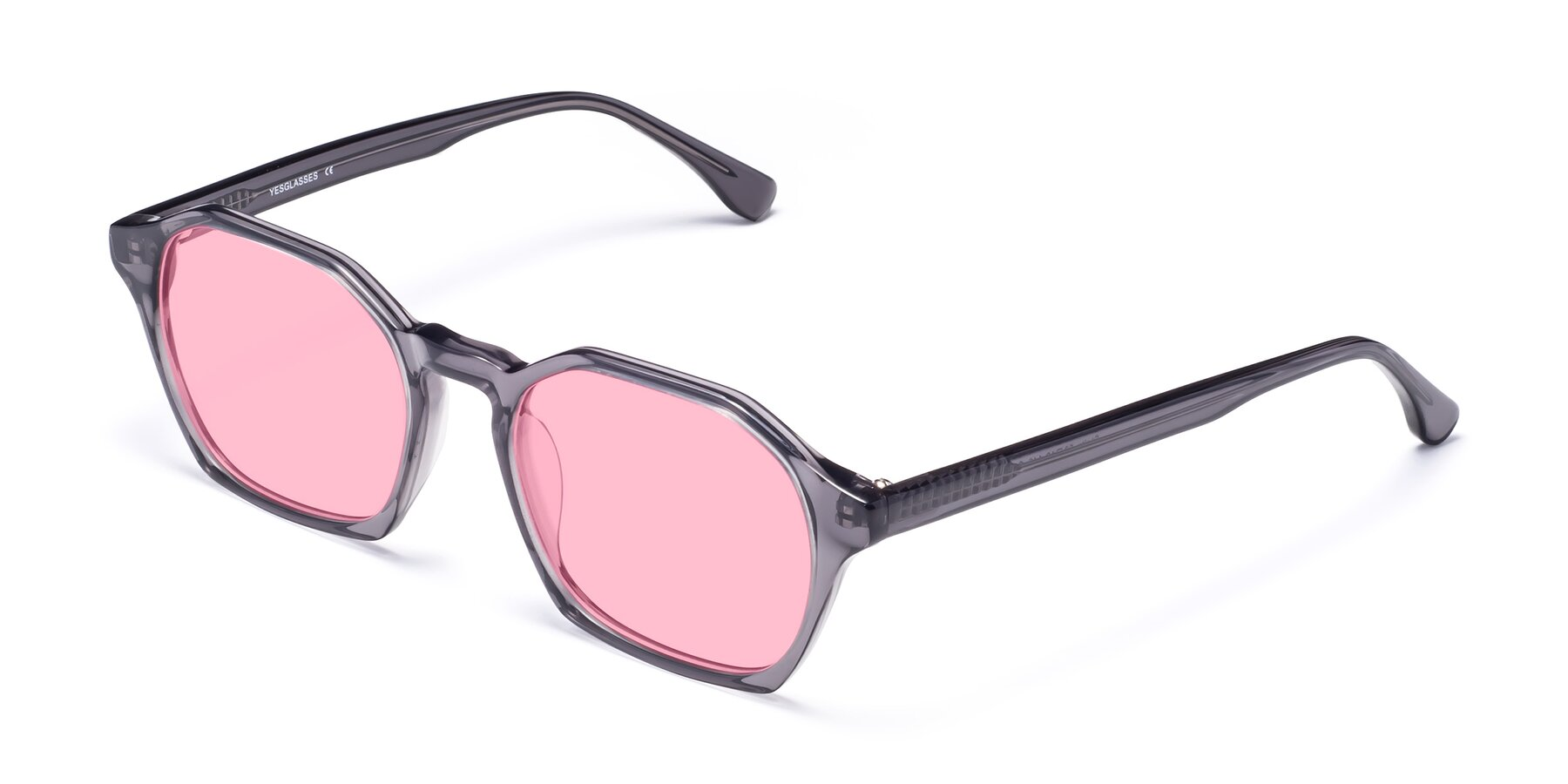 Angle of Stoltz in Translucent Gray with Medium Pink Tinted Lenses