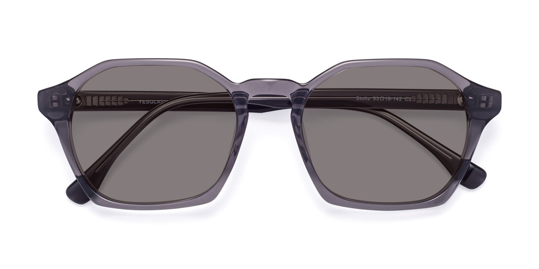 Folded Front of Stoltz in Translucent Gray with Medium Gray Tinted Lenses