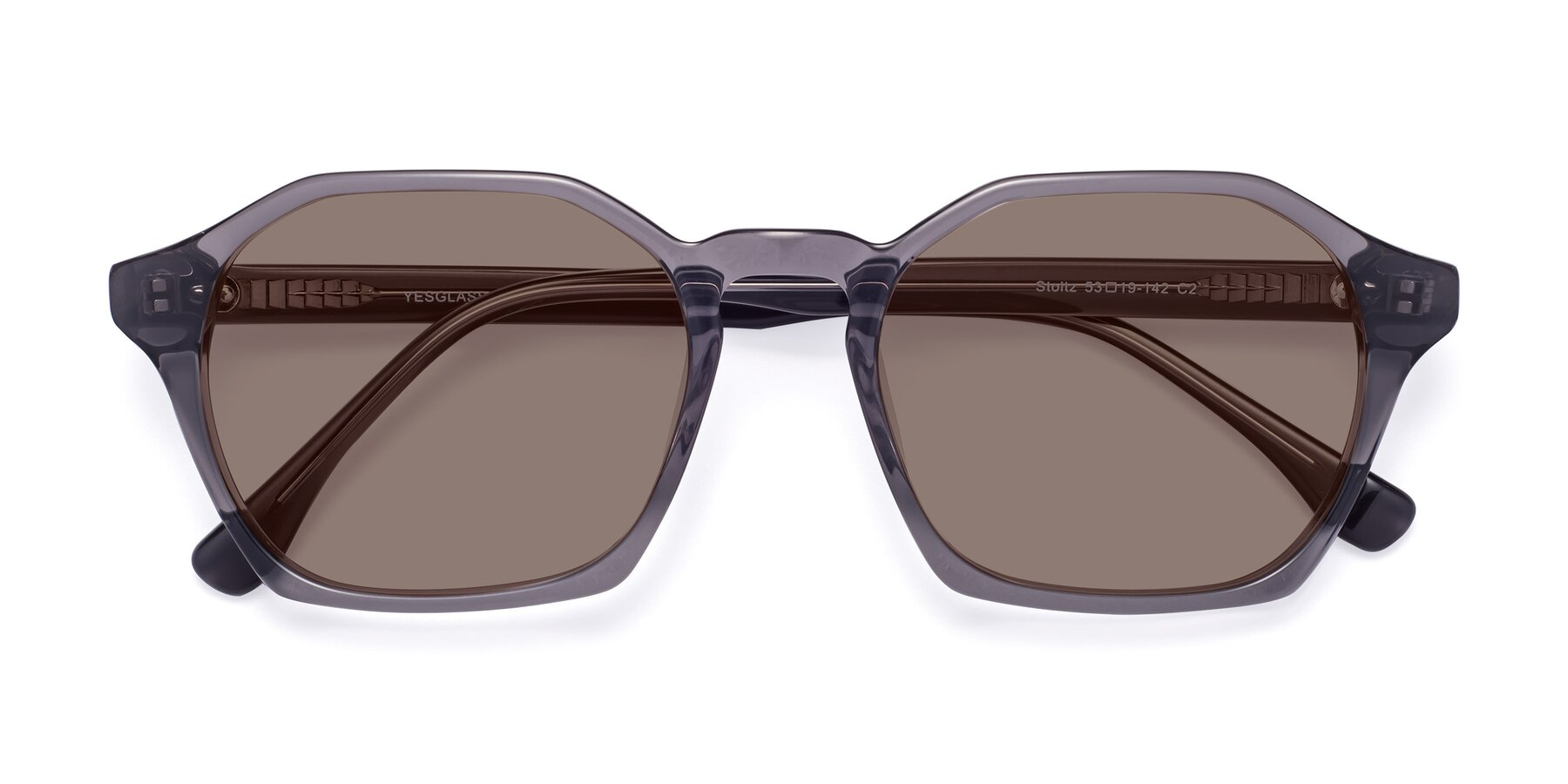 Folded Front of Stoltz in Translucent Gray with Medium Brown Tinted Lenses