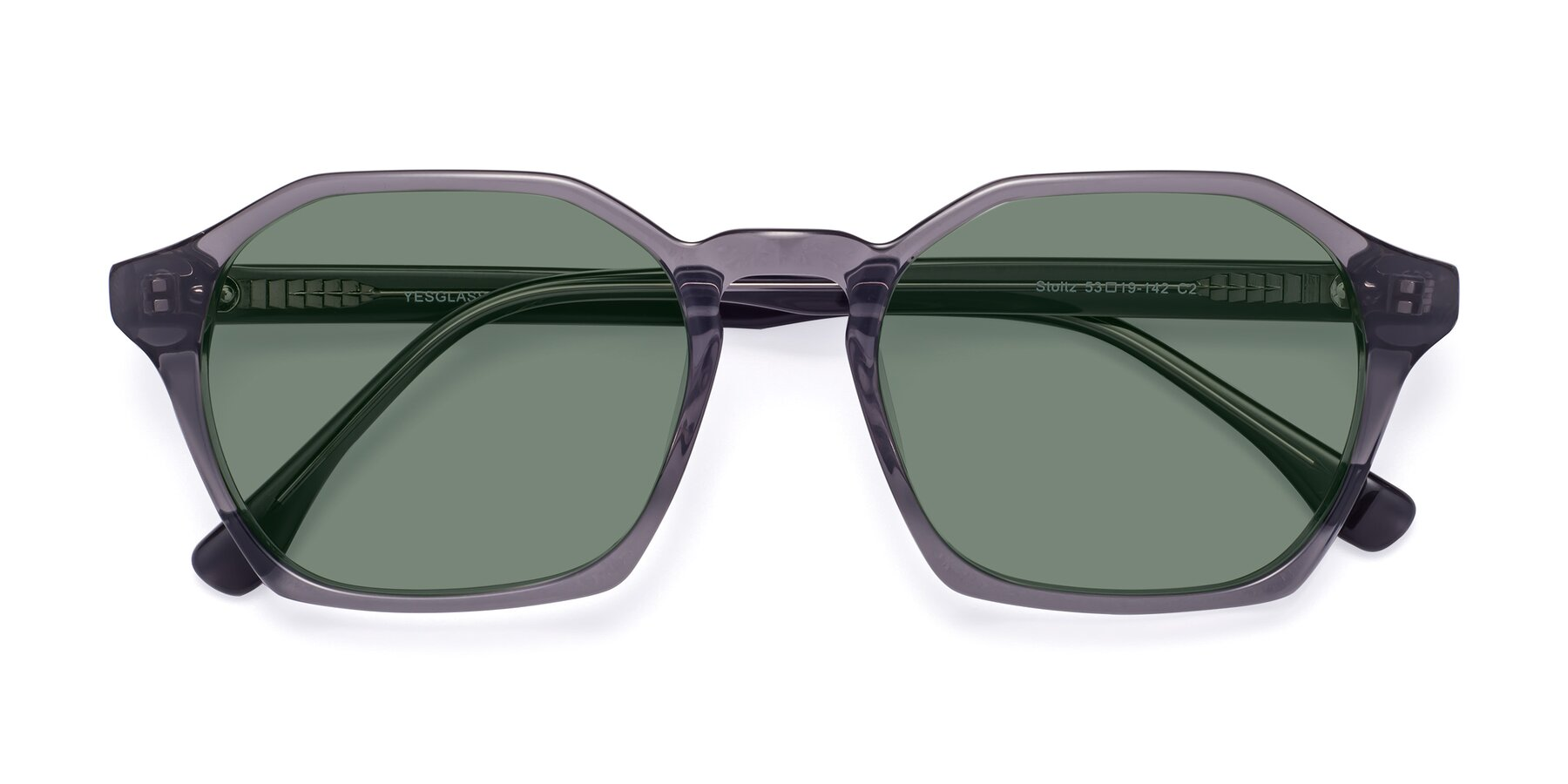 Folded Front of Stoltz in Translucent Gray with Medium Green Tinted Lenses