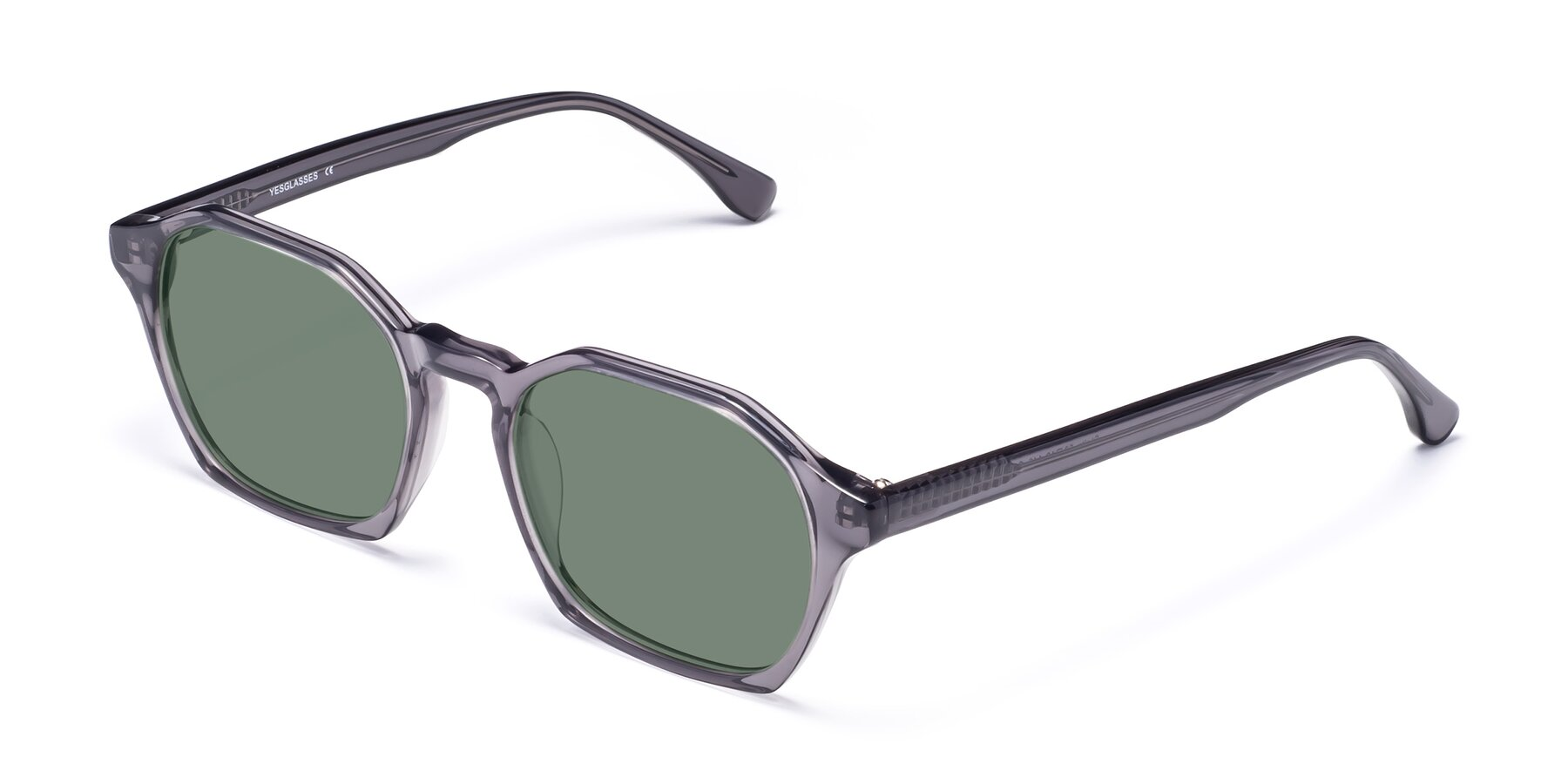 Angle of Stoltz in Translucent Gray with Medium Green Tinted Lenses