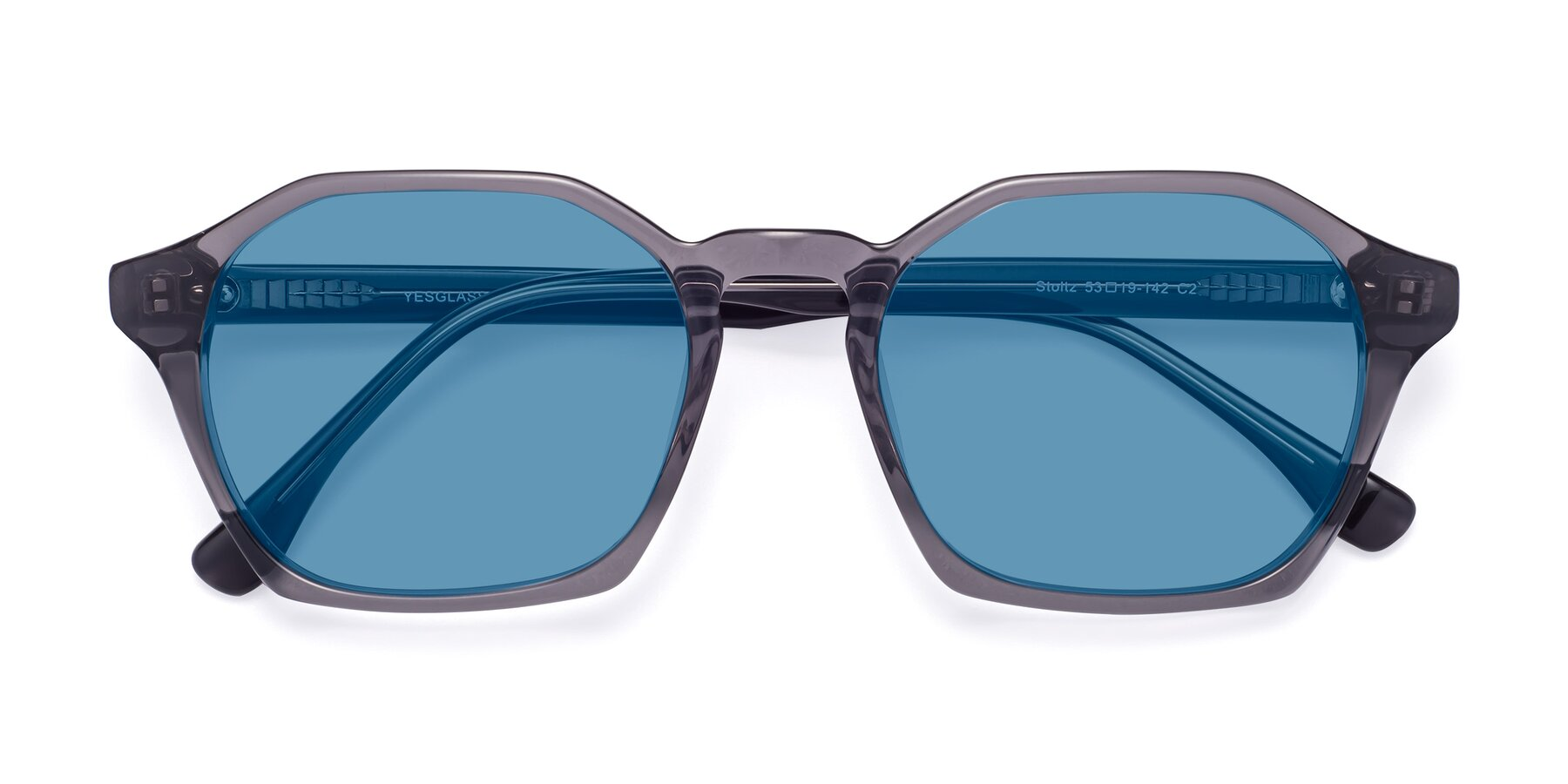 Folded Front of Stoltz in Translucent Gray with Medium Blue Tinted Lenses