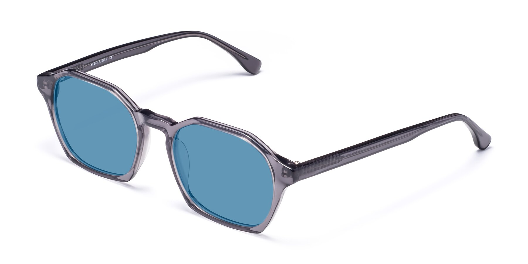 Angle of Stoltz in Translucent Gray with Medium Blue Tinted Lenses