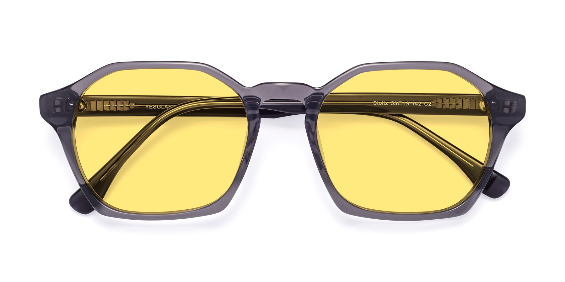 Folded Front of Stoltz in Translucent Gray with Medium Yellow Tinted Lenses