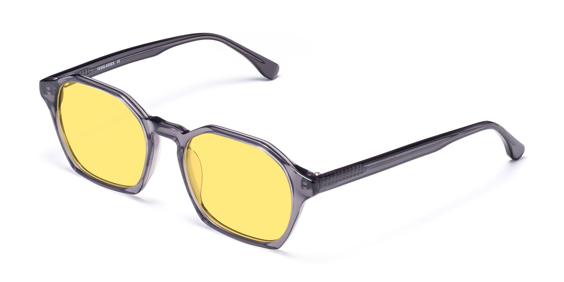 Angle of Stoltz in Translucent Gray with Medium Yellow Tinted Lenses