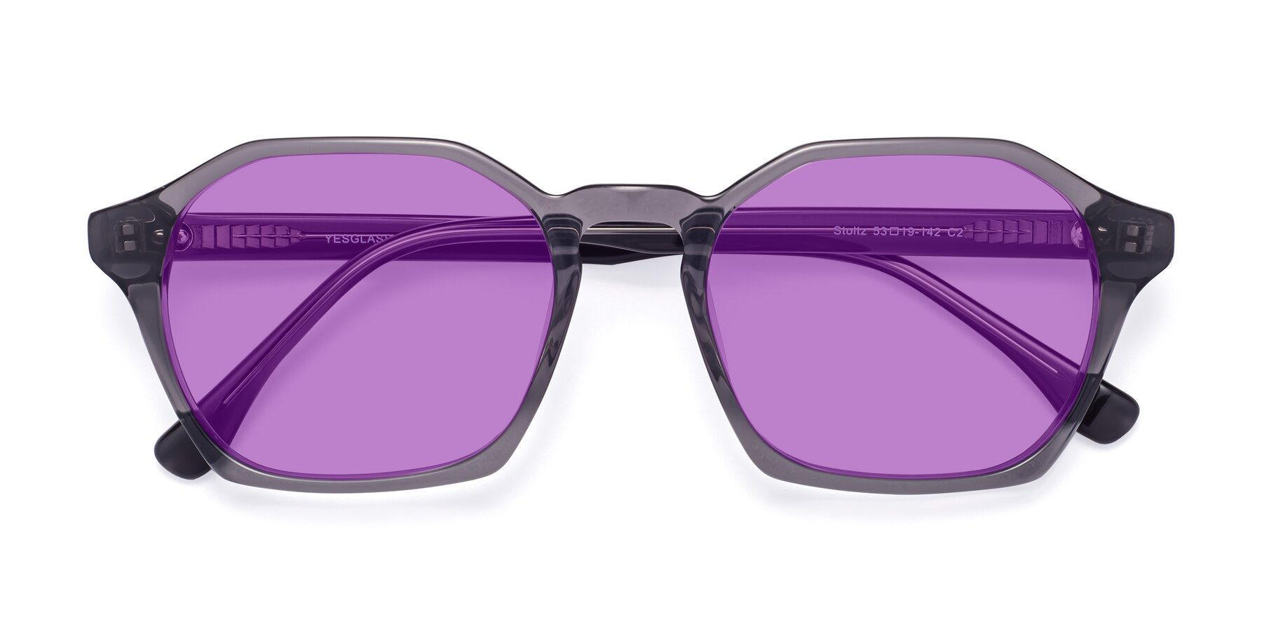 Folded Front of Stoltz in Translucent Gray with Medium Purple Tinted Lenses