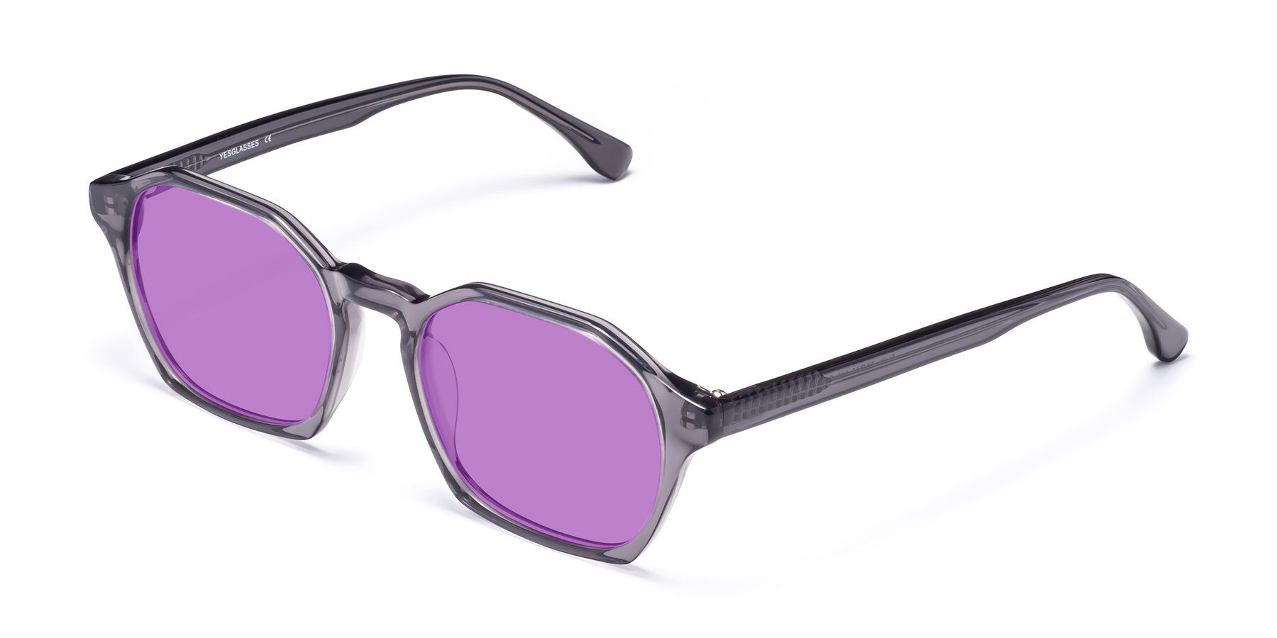 Angle of Stoltz in Translucent Gray with Medium Purple Tinted Lenses