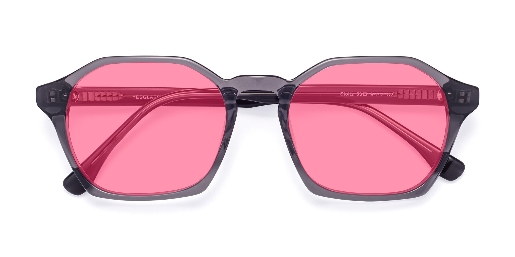 Folded Front of Stoltz in Translucent Gray with Pink Tinted Lenses
