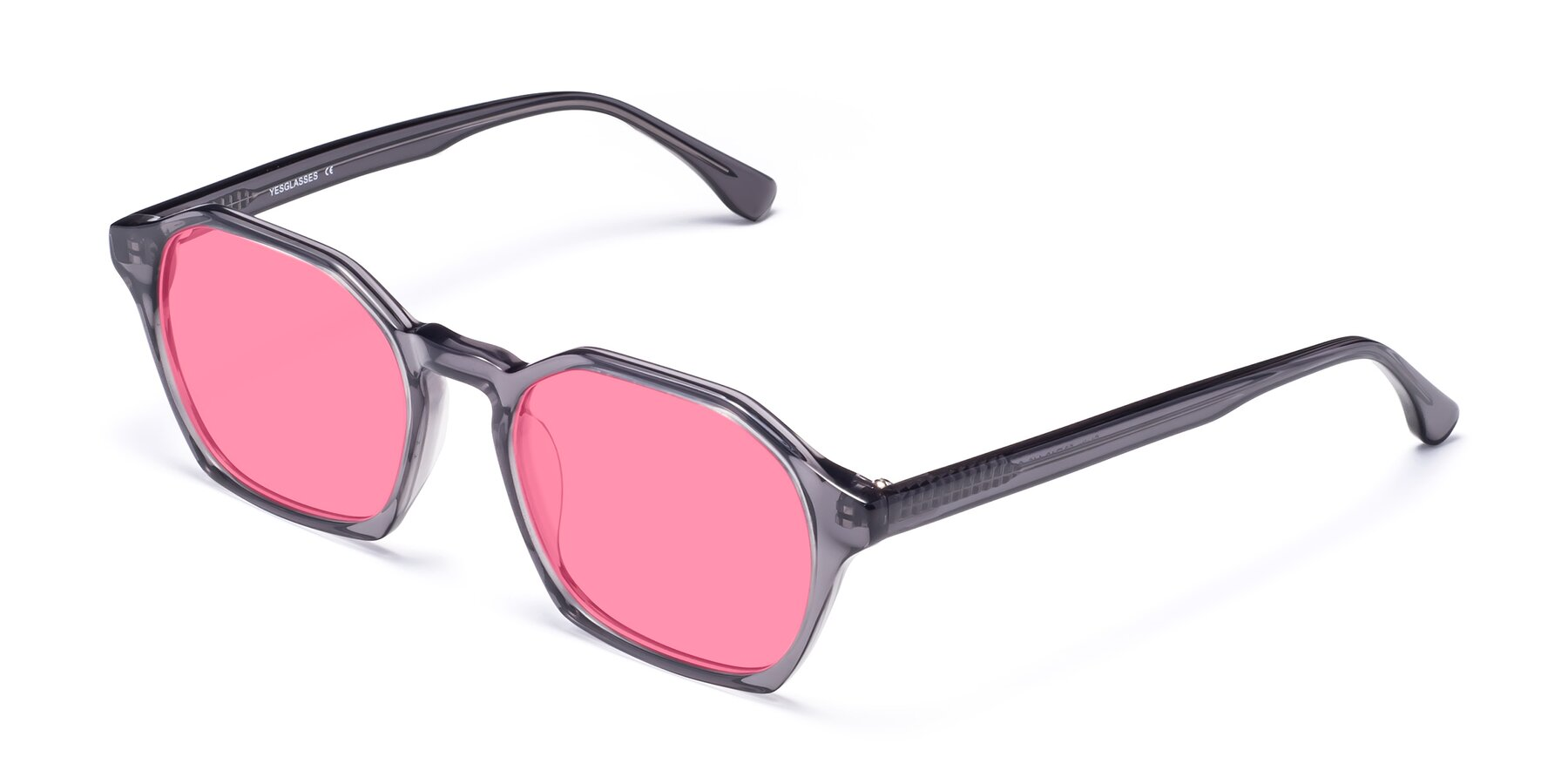Angle of Stoltz in Translucent Gray with Pink Tinted Lenses