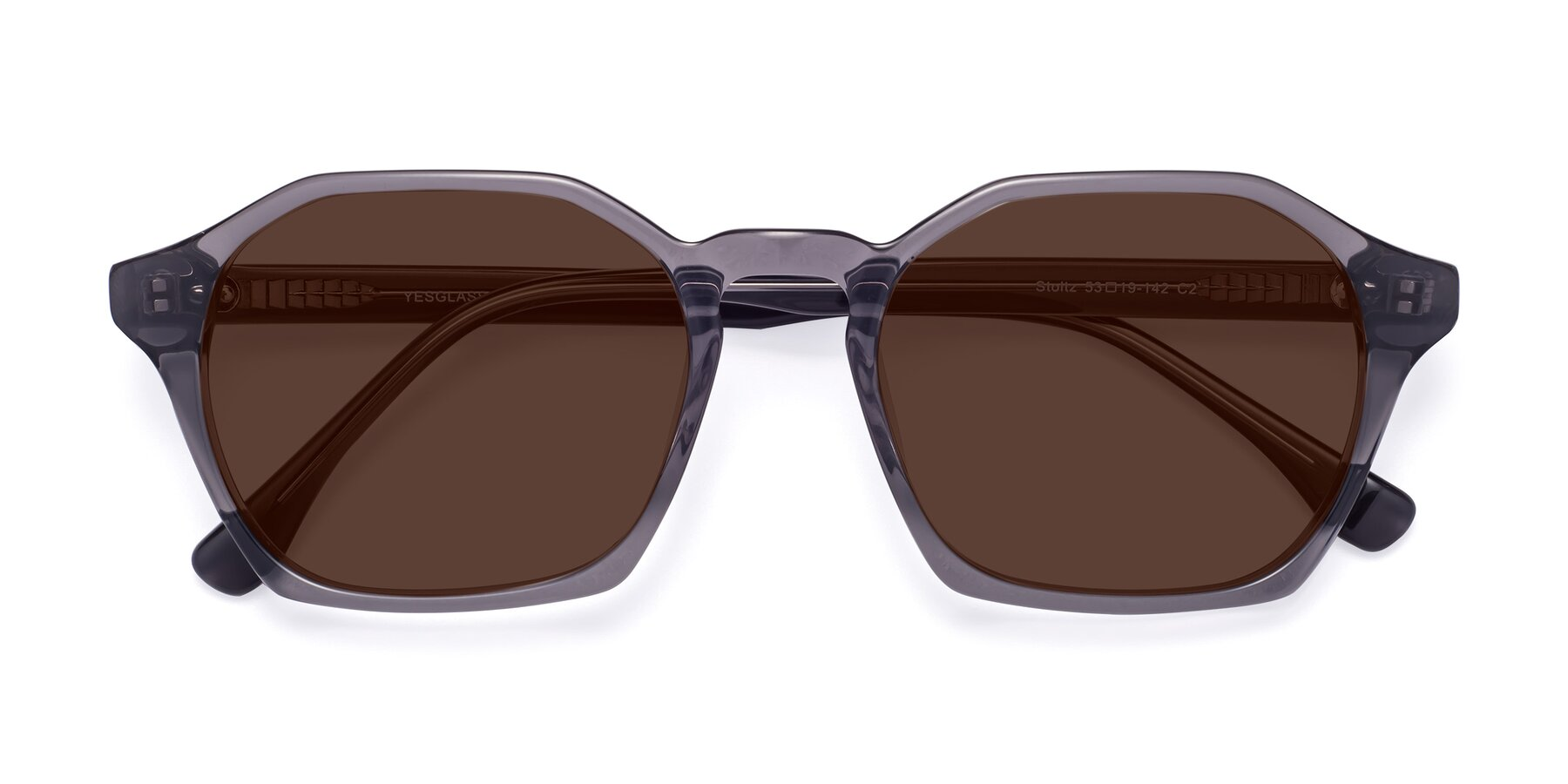 Folded Front of Stoltz in Translucent Gray with Brown Tinted Lenses
