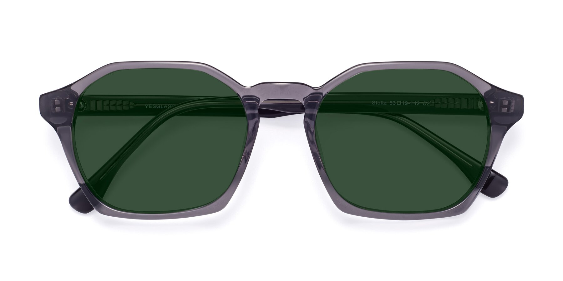 Folded Front of Stoltz in Translucent Gray with Green Tinted Lenses