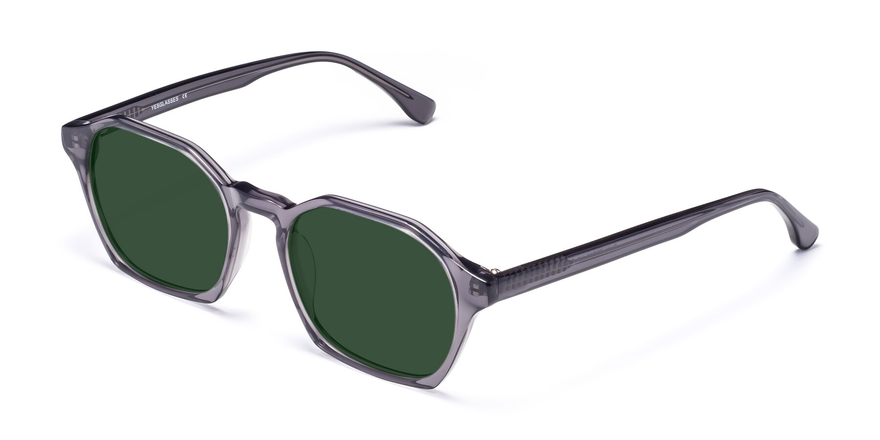 Angle of Stoltz in Translucent Gray with Green Tinted Lenses