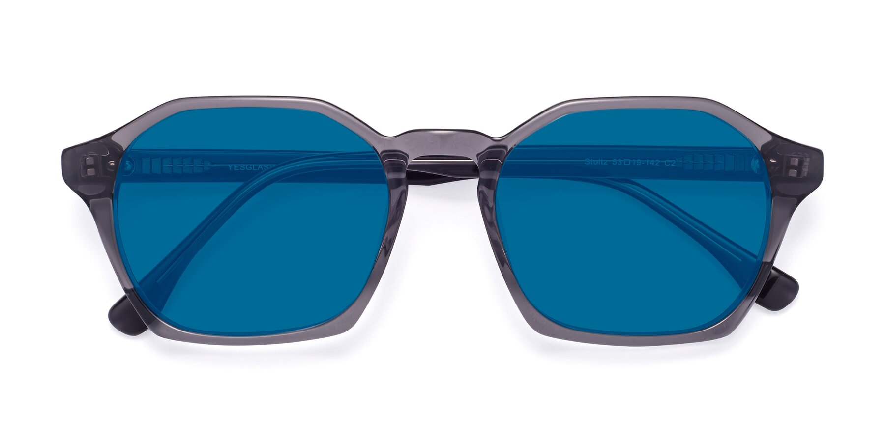 Folded Front of Stoltz in Translucent Gray with Blue Tinted Lenses