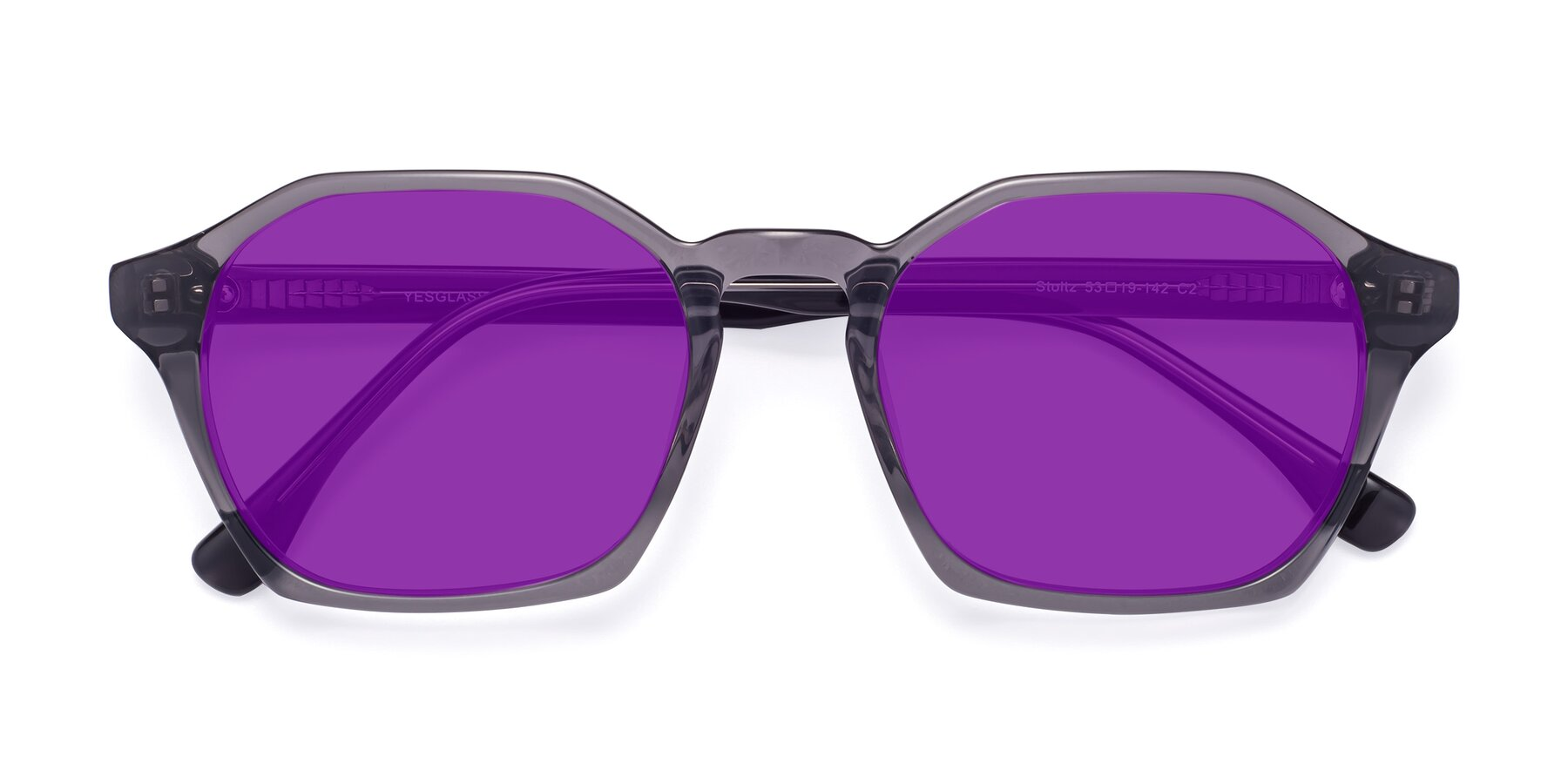 Folded Front of Stoltz in Translucent Gray with Purple Tinted Lenses