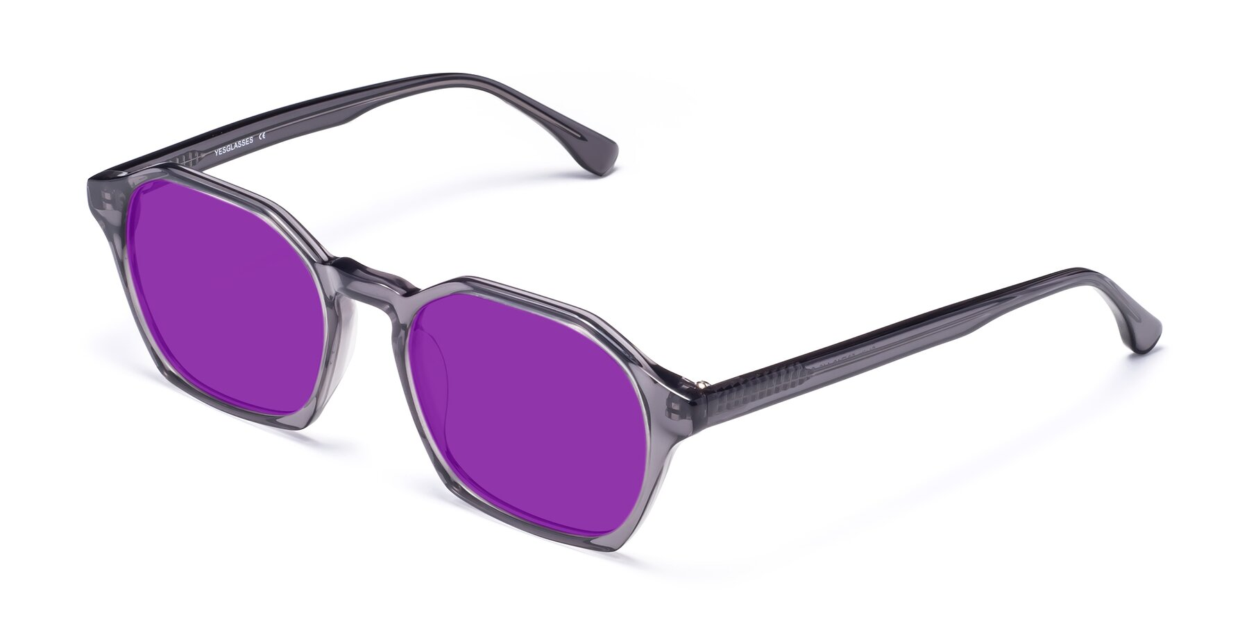 Angle of Stoltz in Translucent Gray with Purple Tinted Lenses