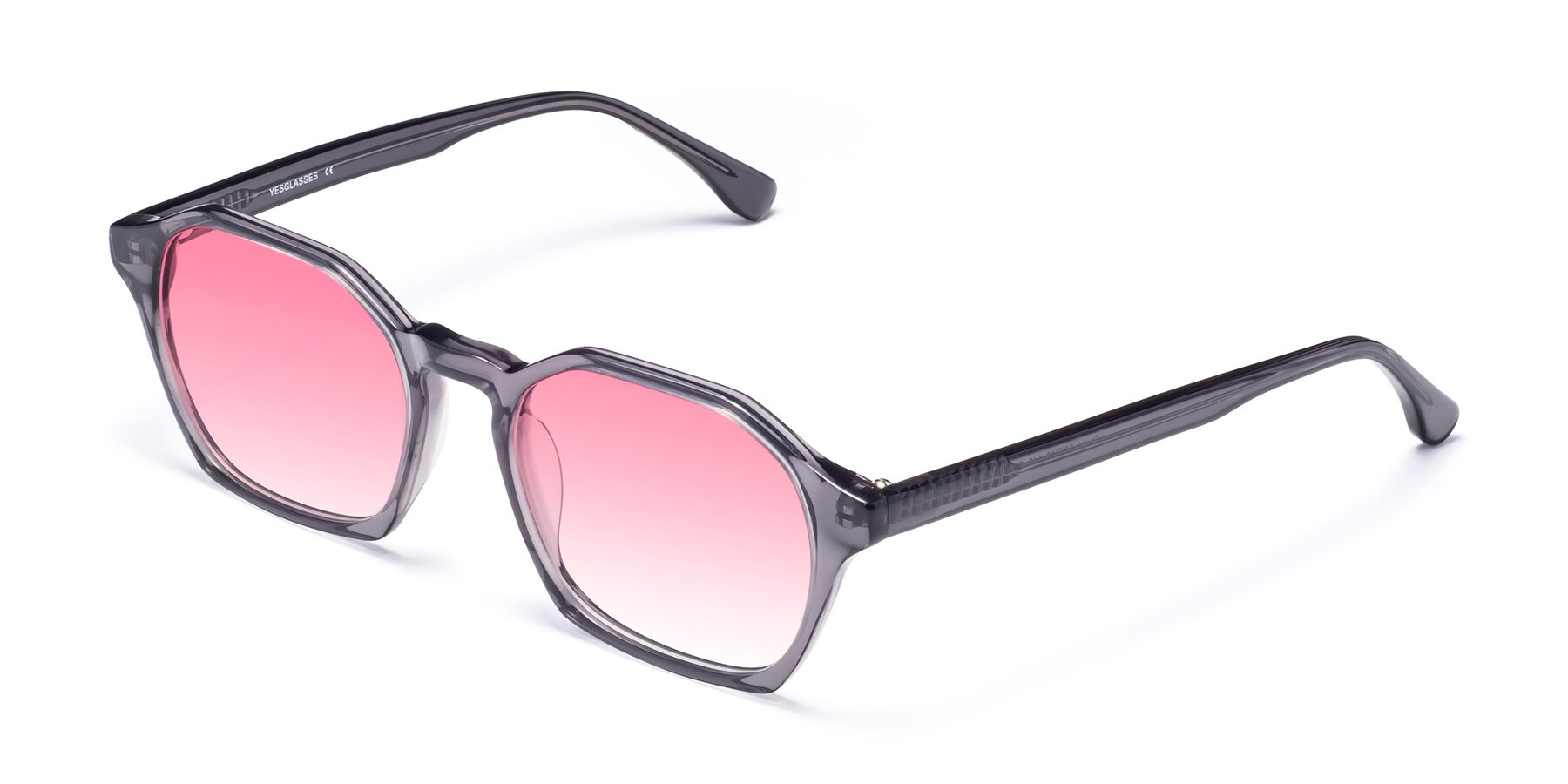 Angle of Stoltz in Translucent Gray with Pink Gradient Lenses
