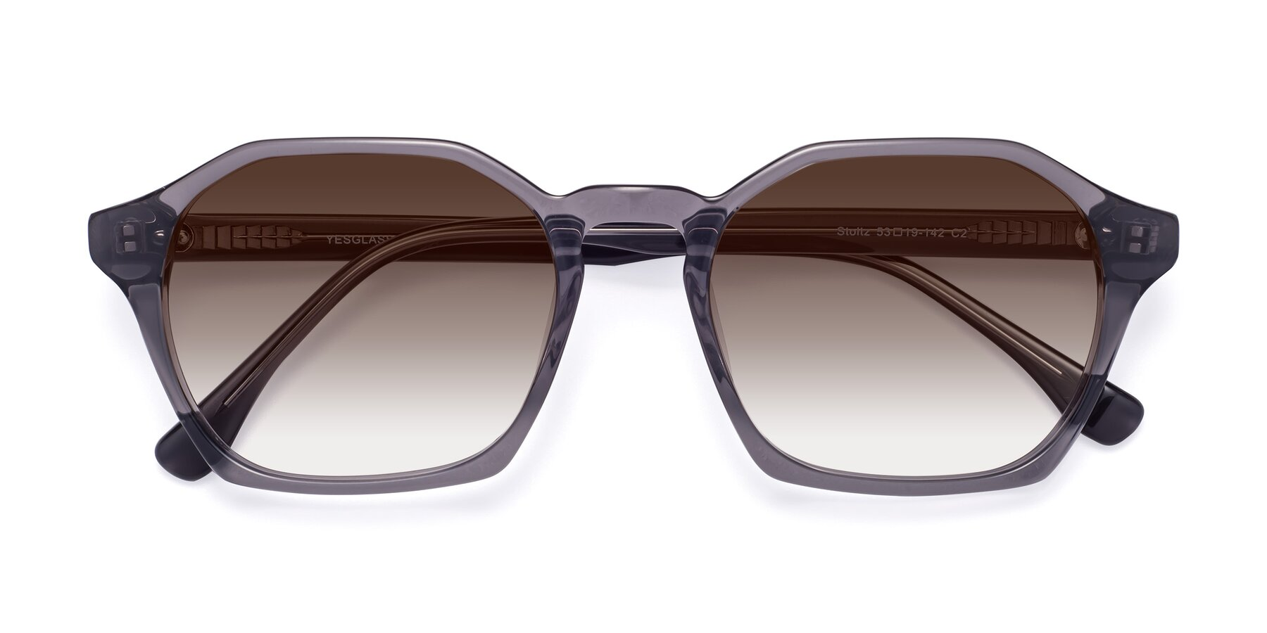 Folded Front of Stoltz in Translucent Gray with Brown Gradient Lenses