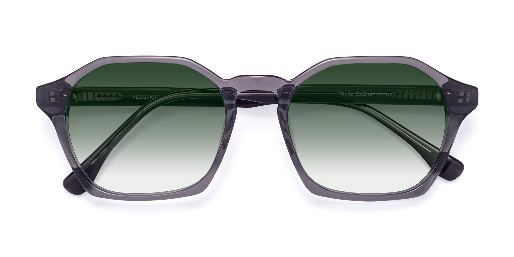 Folded Front of Stoltz in Translucent Gray with Green Gradient Lenses