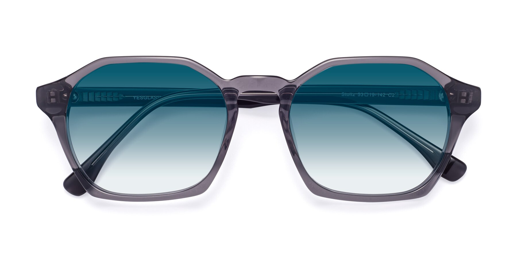 Folded Front of Stoltz in Translucent Gray with Blue Gradient Lenses