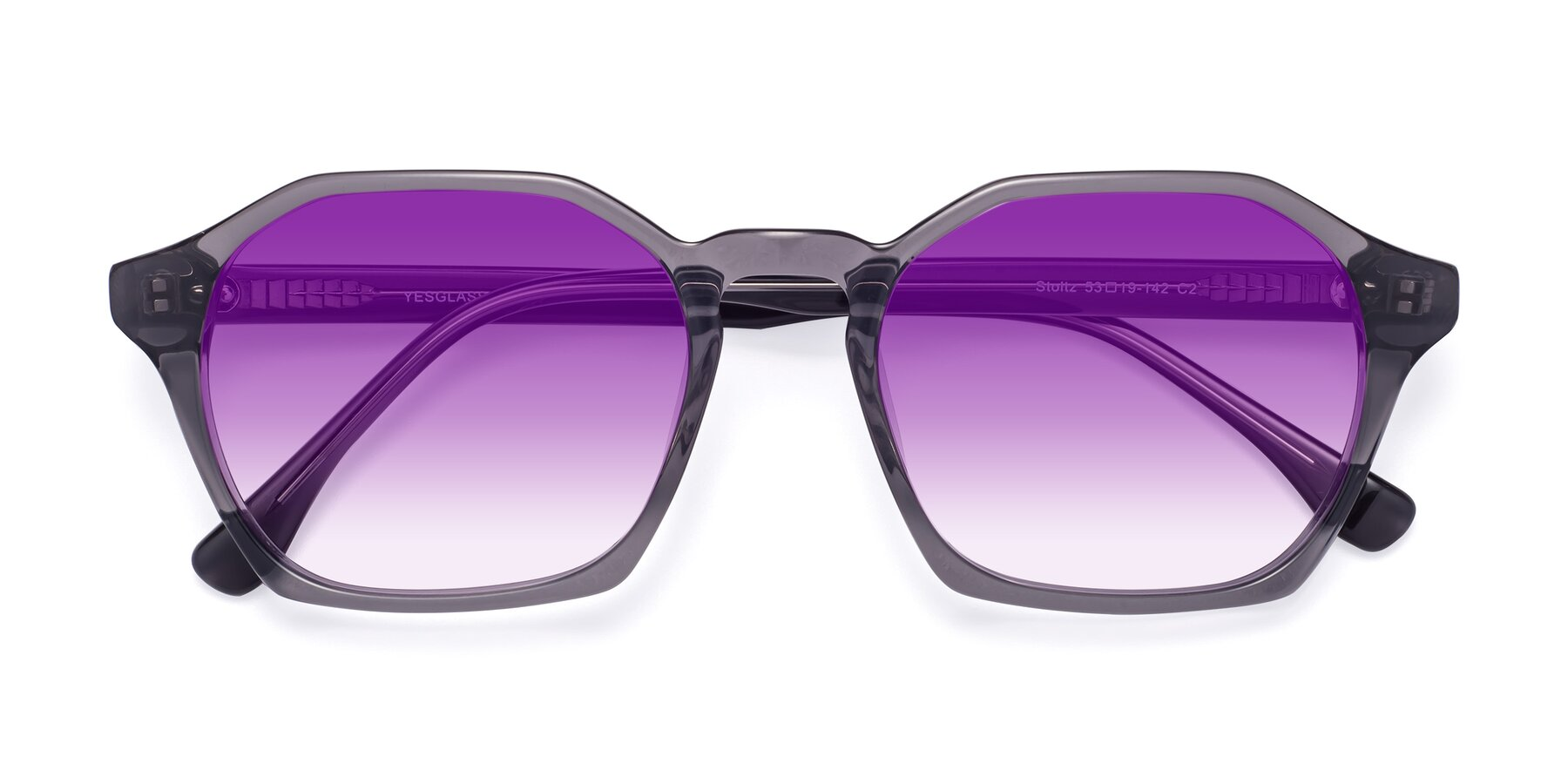 Folded Front of Stoltz in Translucent Gray with Purple Gradient Lenses