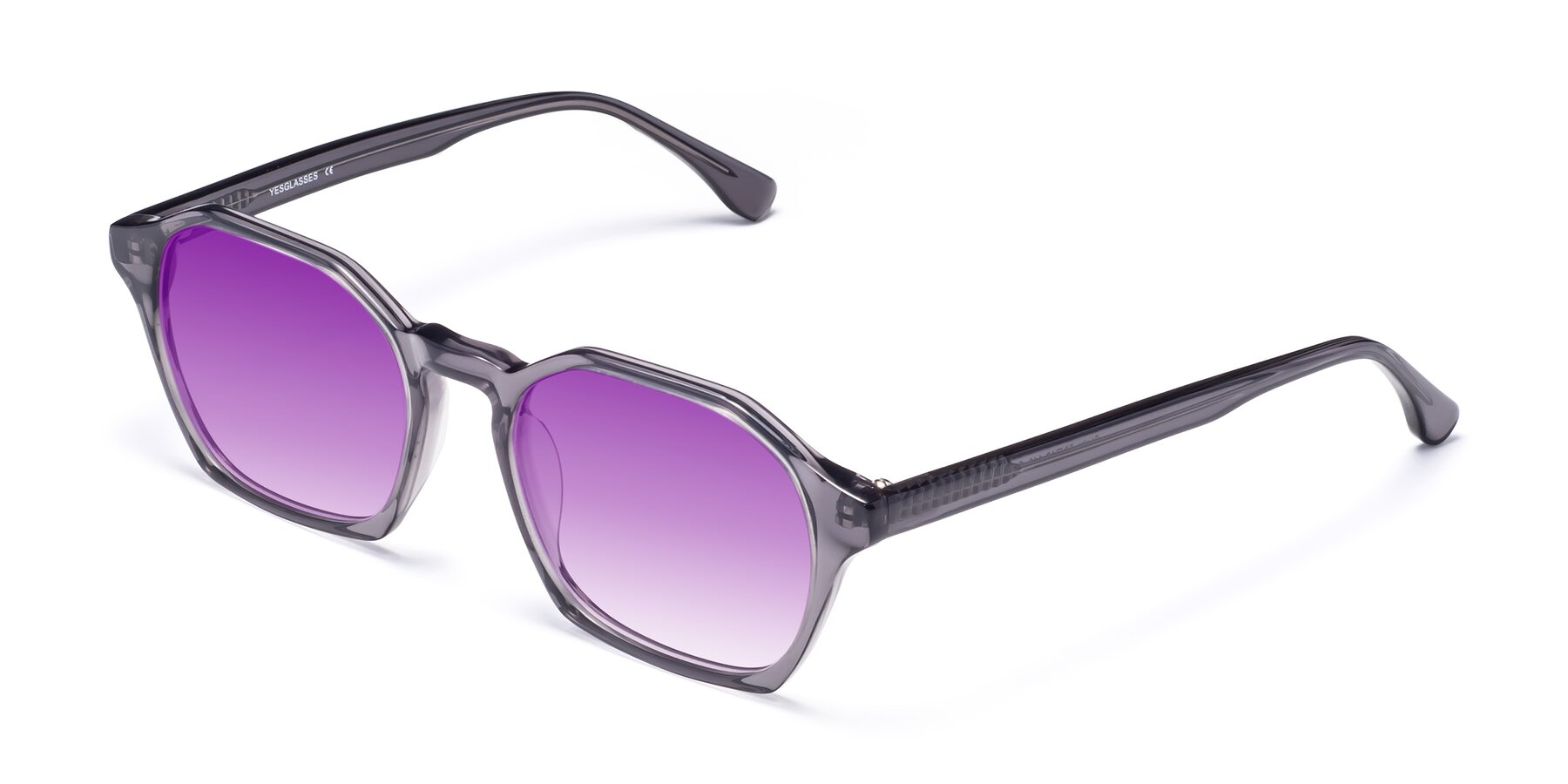 Angle of Stoltz in Translucent Gray with Purple Gradient Lenses