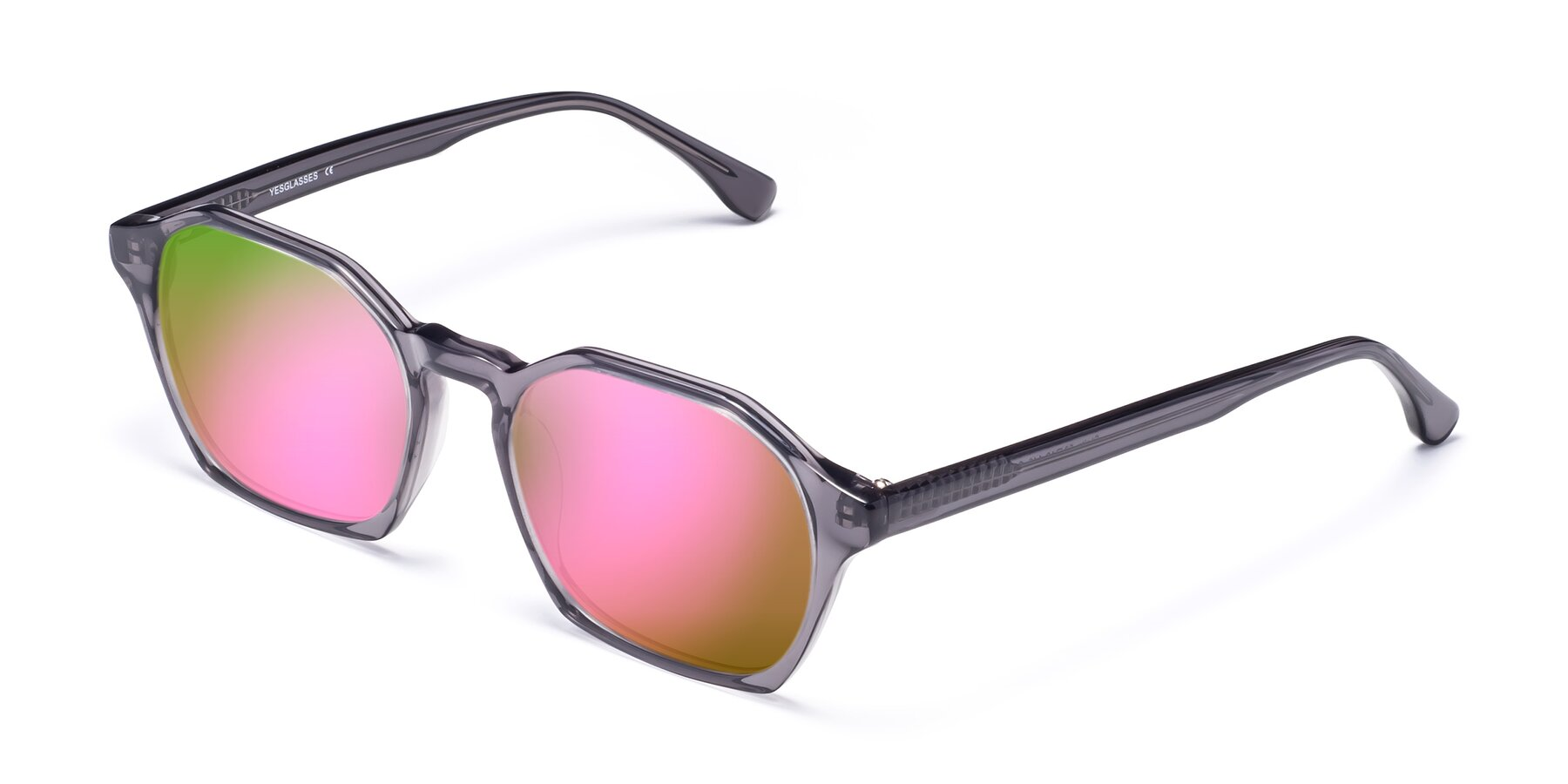 Angle of Stoltz in Translucent Gray with Pink Mirrored Lenses