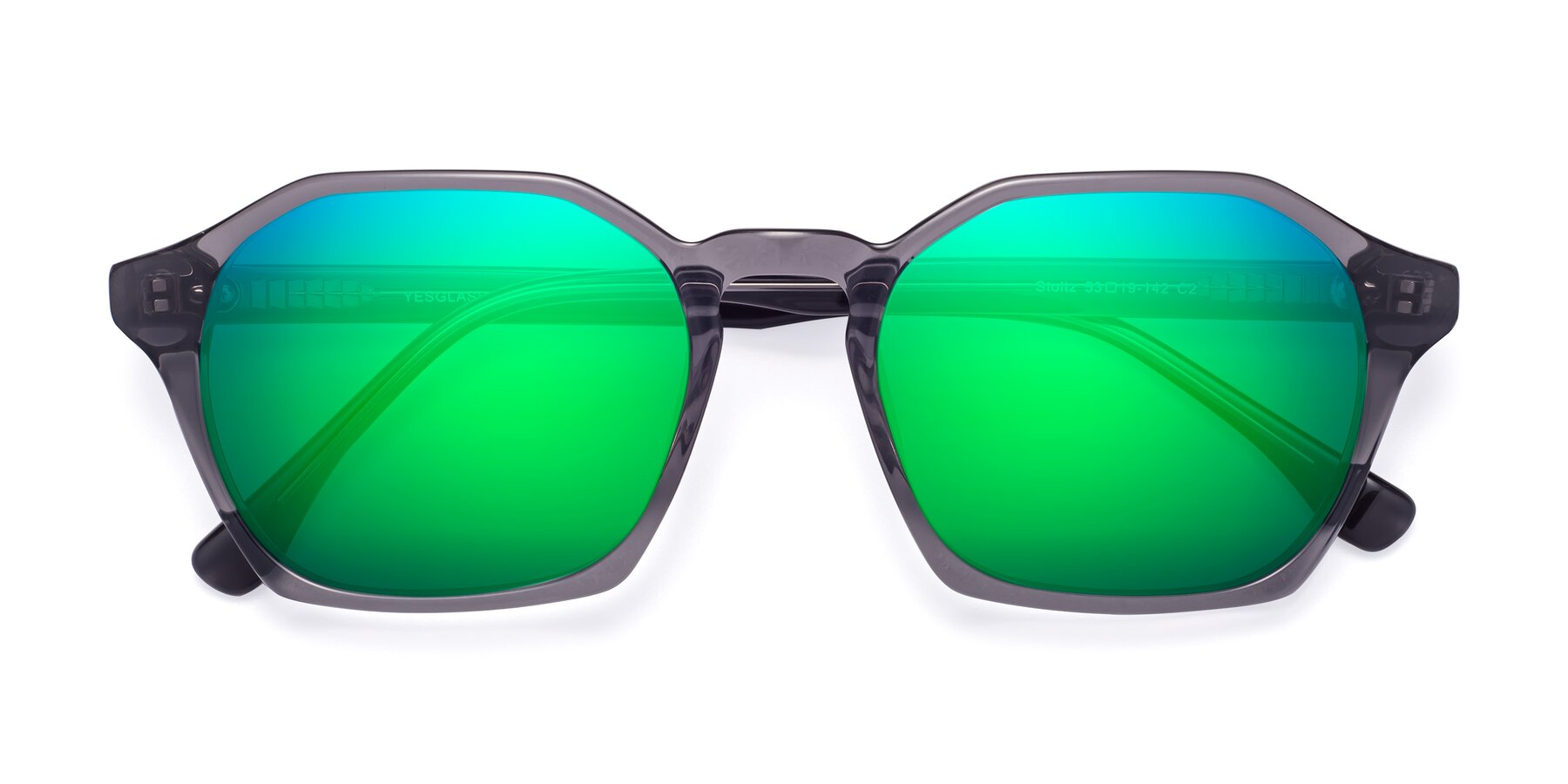 Folded Front of Stoltz in Translucent Gray with Green Mirrored Lenses