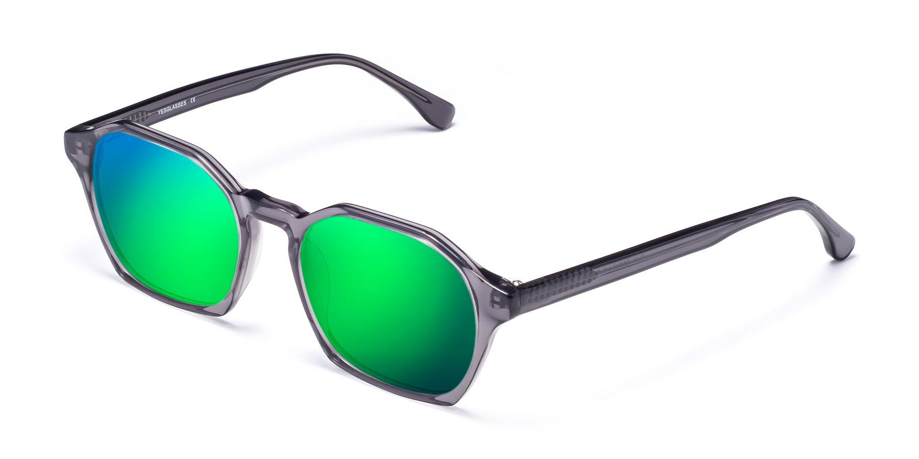 Angle of Stoltz in Translucent Gray with Green Mirrored Lenses