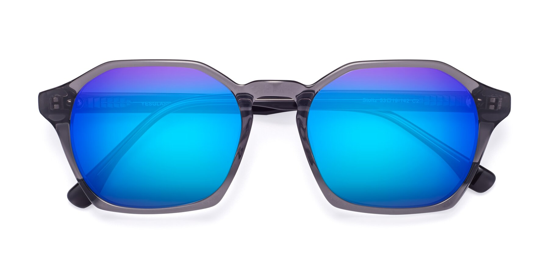 Folded Front of Stoltz in Translucent Gray with Blue Mirrored Lenses