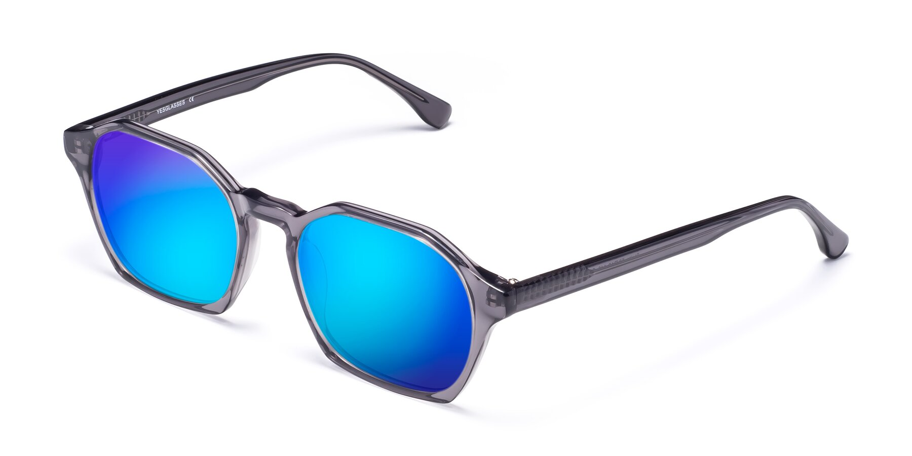 Angle of Stoltz in Translucent Gray with Blue Mirrored Lenses