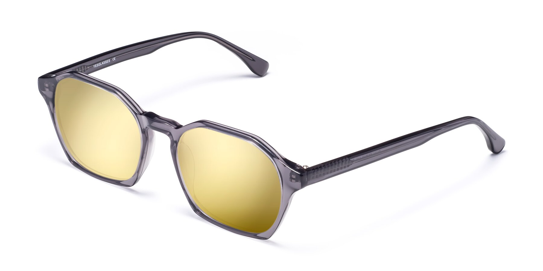 Angle of Stoltz in Translucent Gray with Gold Mirrored Lenses