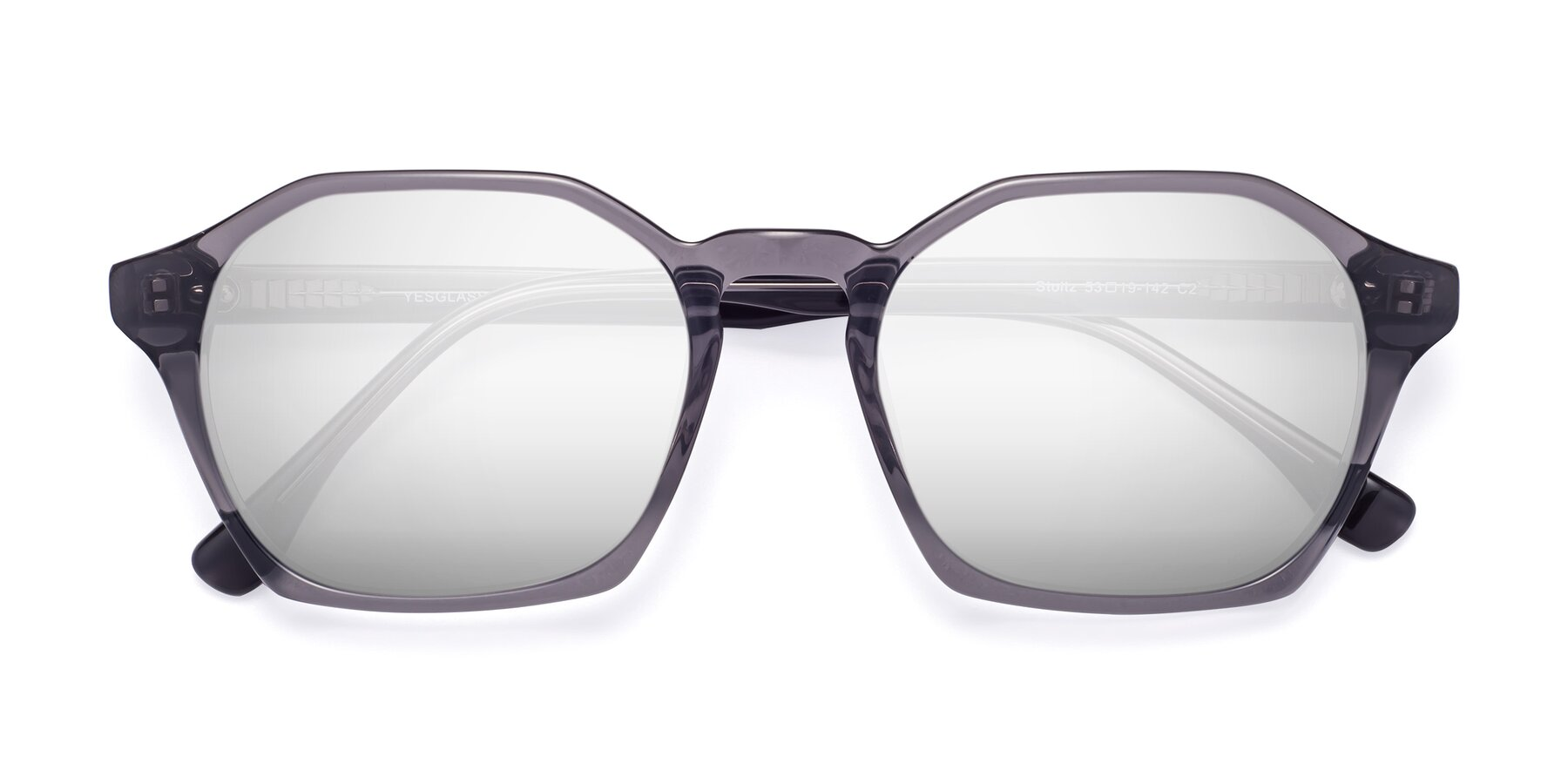 Folded Front of Stoltz in Translucent Gray with Silver Mirrored Lenses