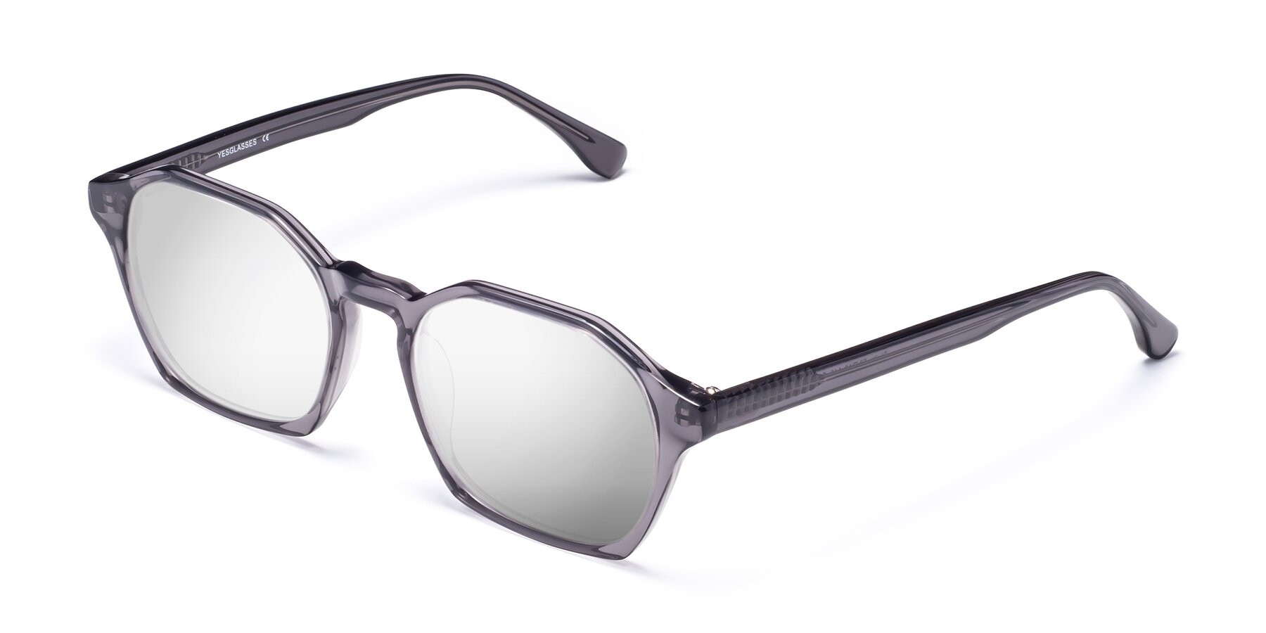 Angle of Stoltz in Translucent Gray with Silver Mirrored Lenses