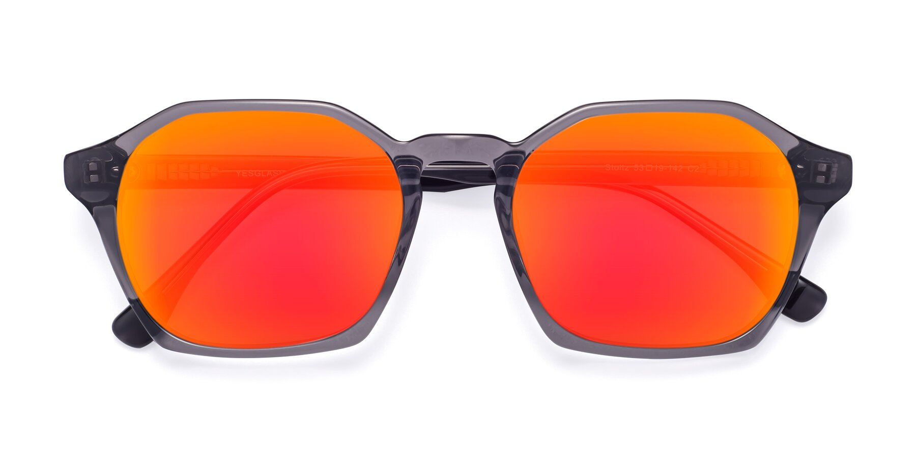 Folded Front of Stoltz in Translucent Gray with Red Gold Mirrored Lenses
