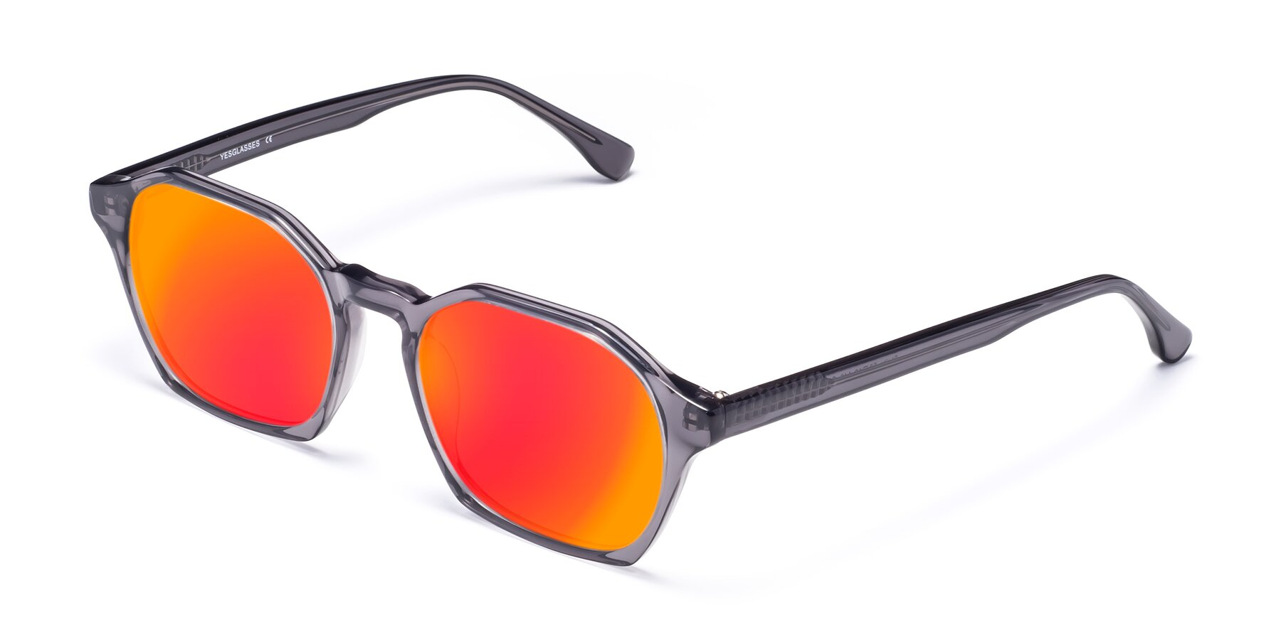 Angle of Stoltz in Translucent Gray with Red Gold Mirrored Lenses