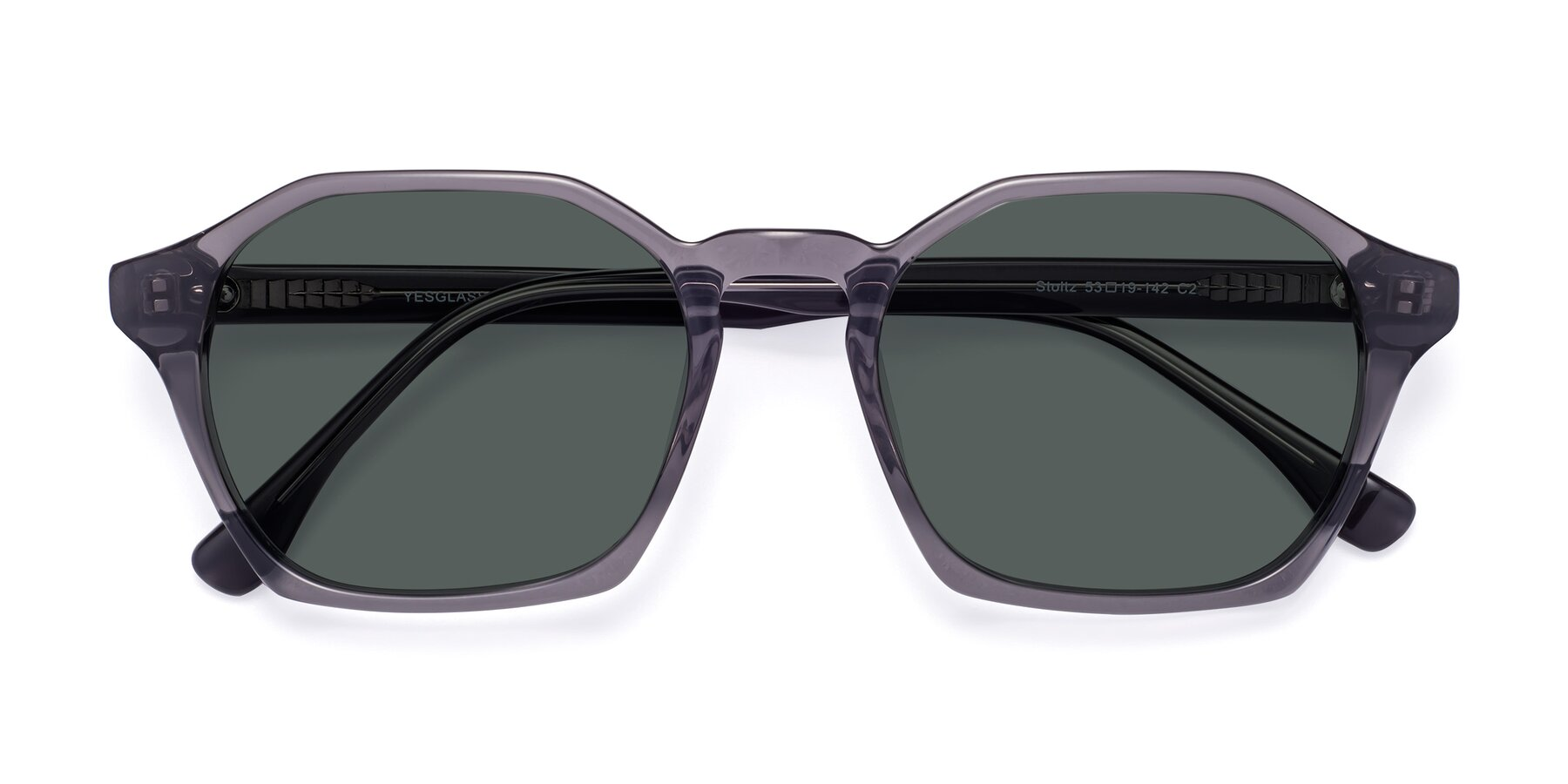 Folded Front of Stoltz in Translucent Gray with Gray Polarized Lenses