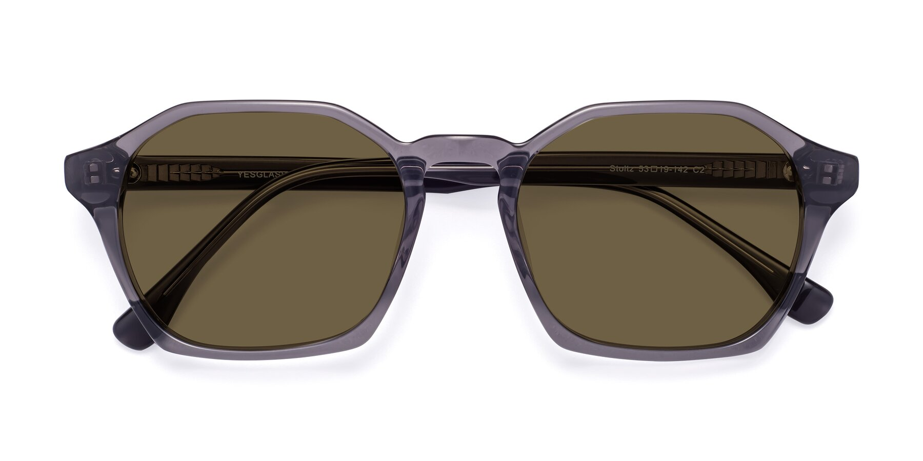 Folded Front of Stoltz in Translucent Gray with Brown Polarized Lenses