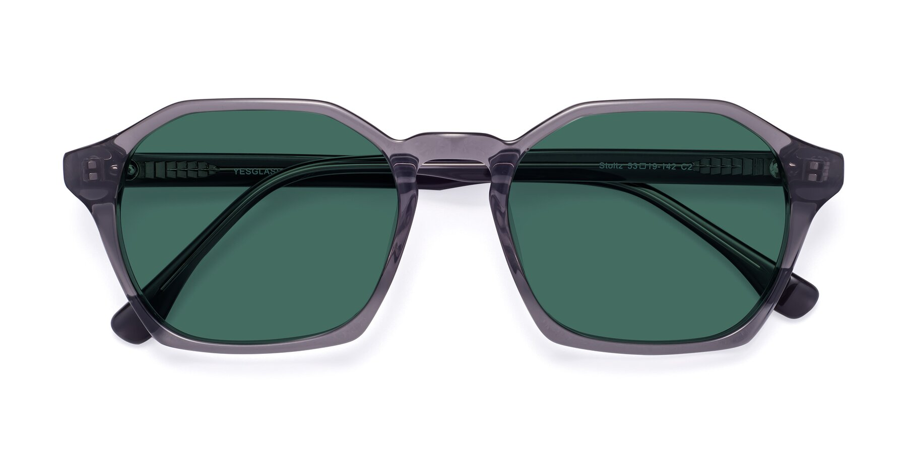 Folded Front of Stoltz in Translucent Gray with Green Polarized Lenses