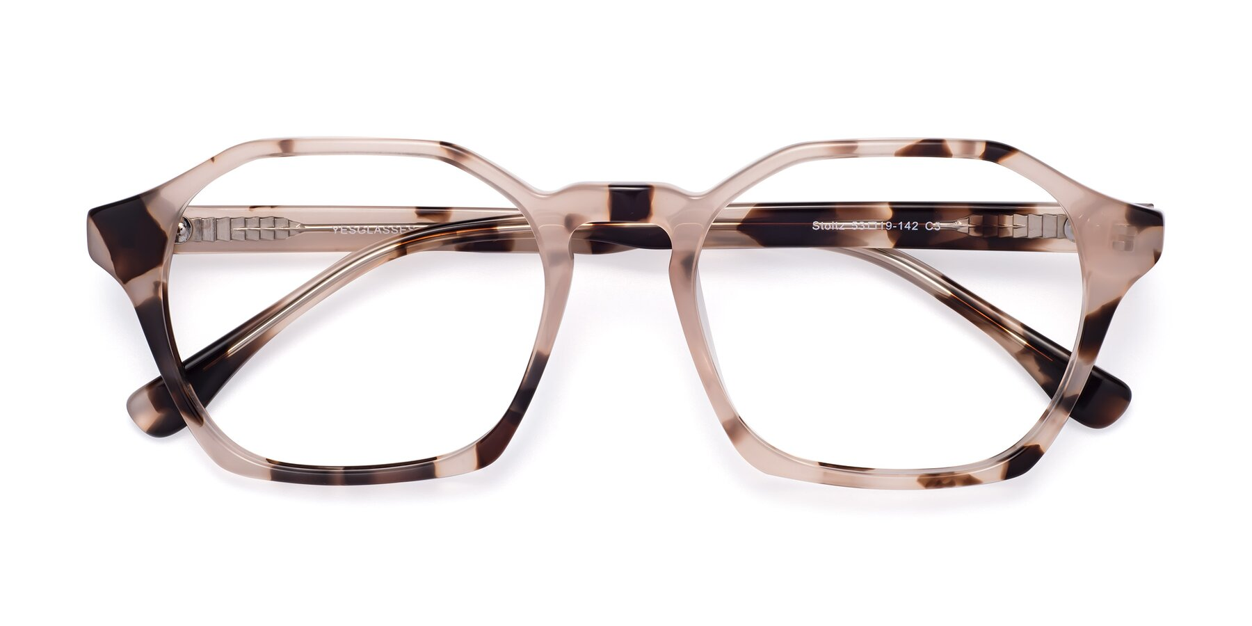 Folded Front of Stoltz in Leopard-Print with Clear Blue Light Blocking Lenses