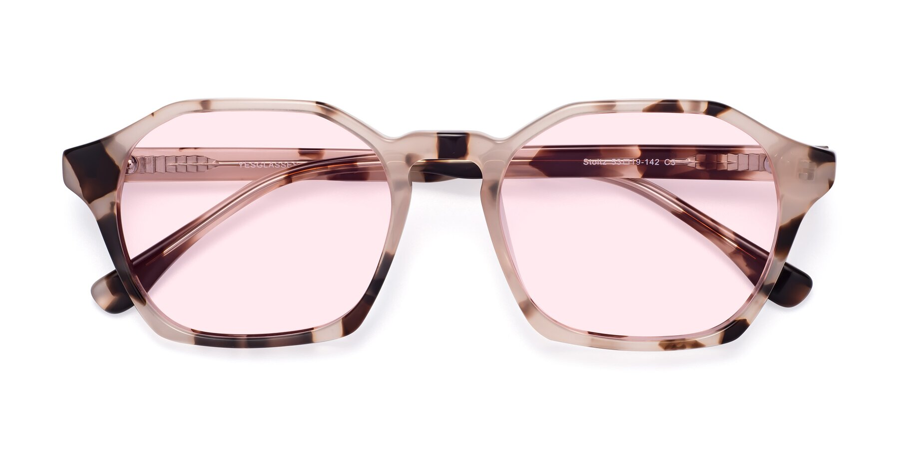 Folded Front of Stoltz in Leopard with Light Pink Tinted Lenses