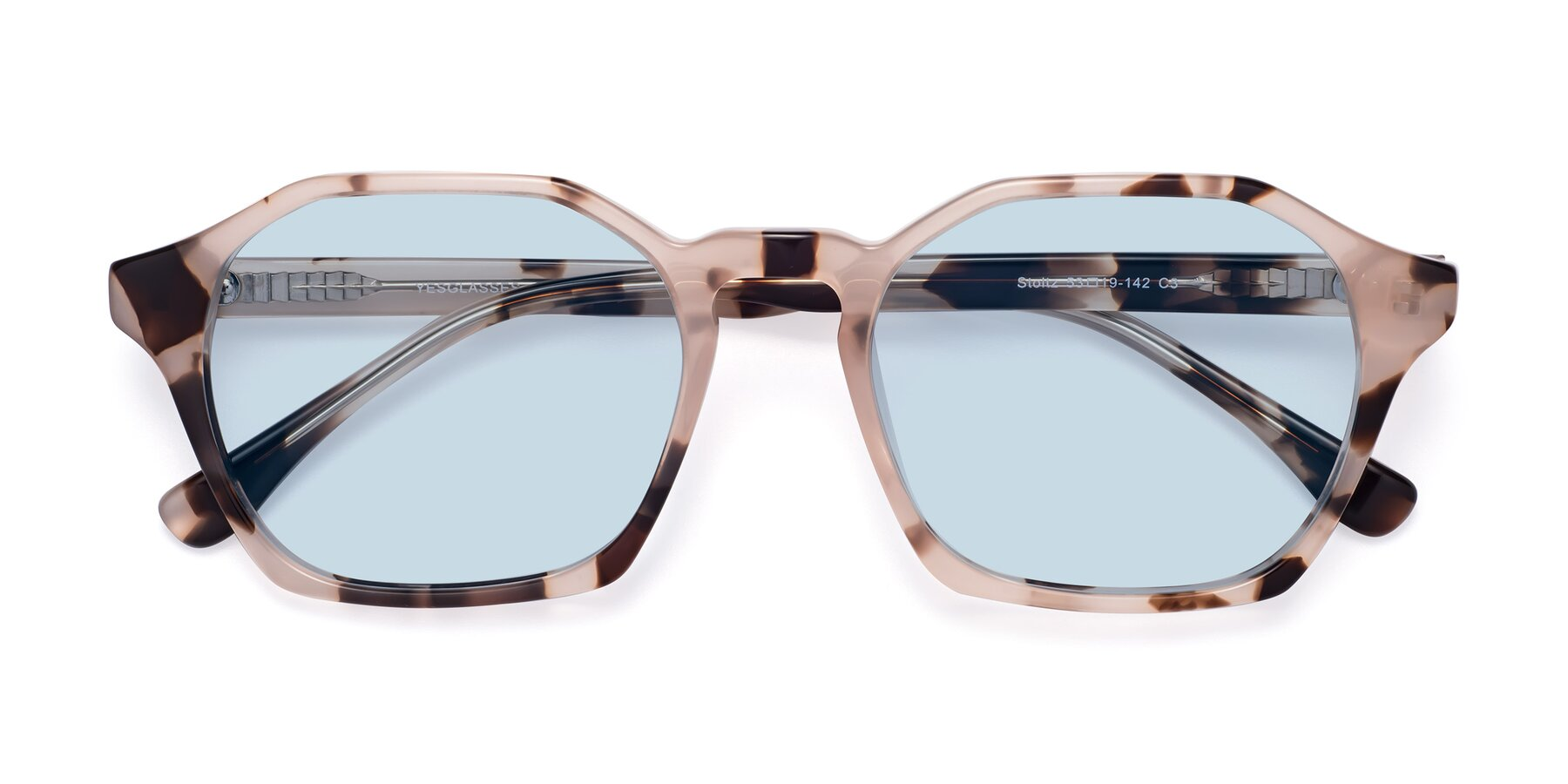 Folded Front of Stoltz in Leopard with Light Blue Tinted Lenses