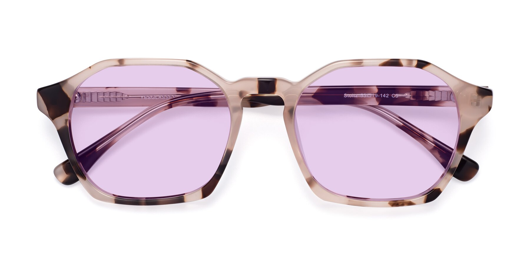 Folded Front of Stoltz in Leopard with Light Purple Tinted Lenses