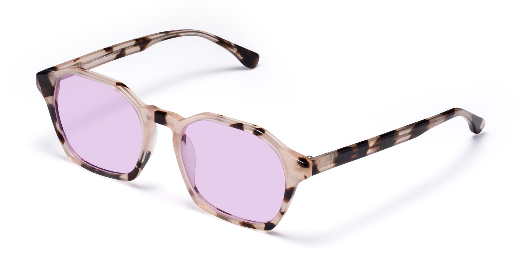 Angle of Stoltz in Leopard with Light Purple Tinted Lenses