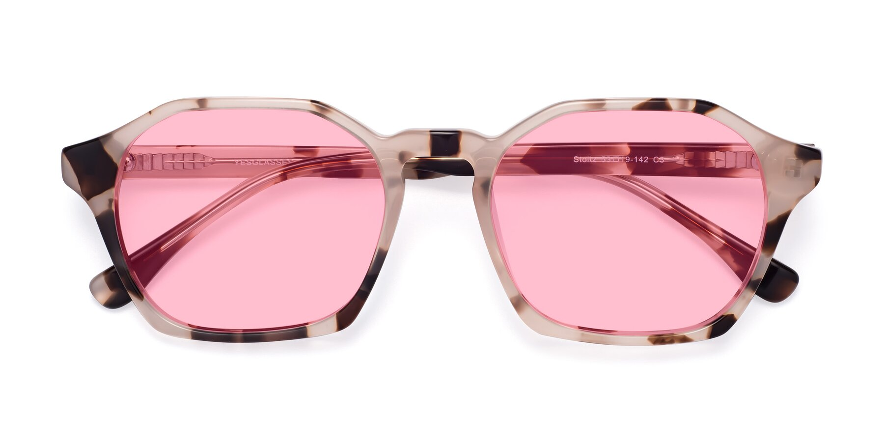 Folded Front of Stoltz in Leopard with Medium Pink Tinted Lenses