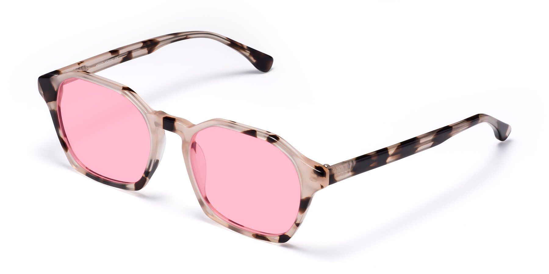 Angle of Stoltz in Leopard with Medium Pink Tinted Lenses