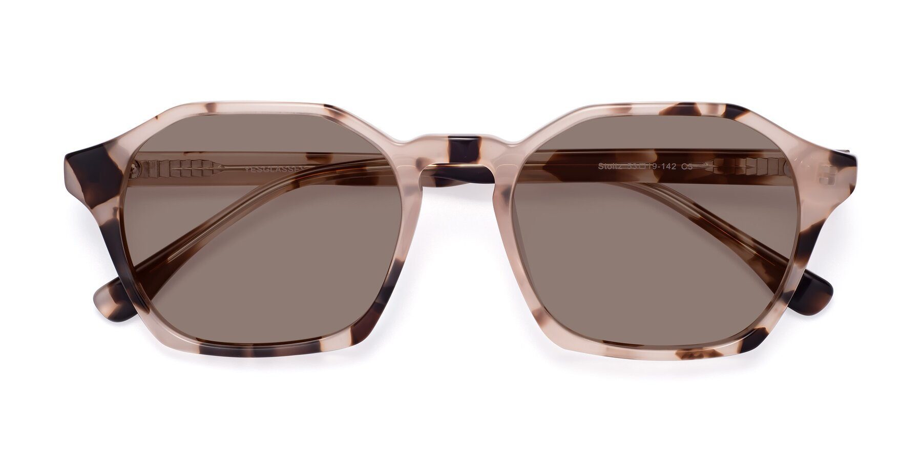 Folded Front of Stoltz in Leopard with Medium Brown Tinted Lenses