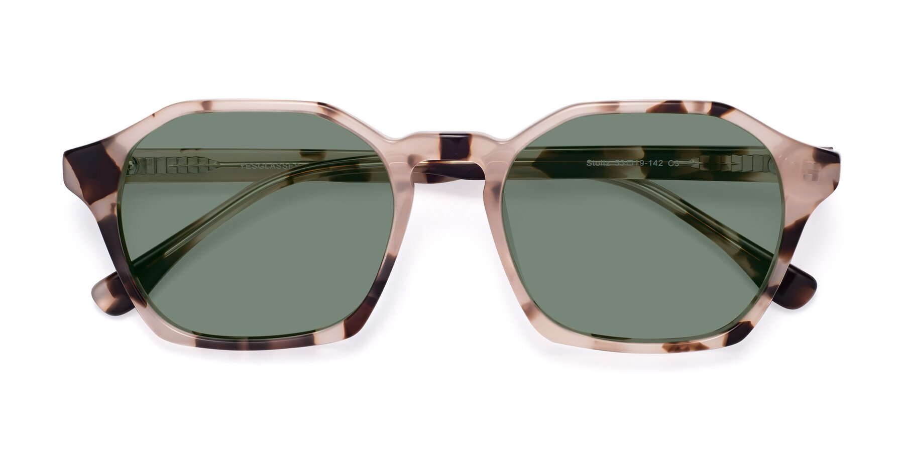 Folded Front of Stoltz in Leopard with Medium Green Tinted Lenses
