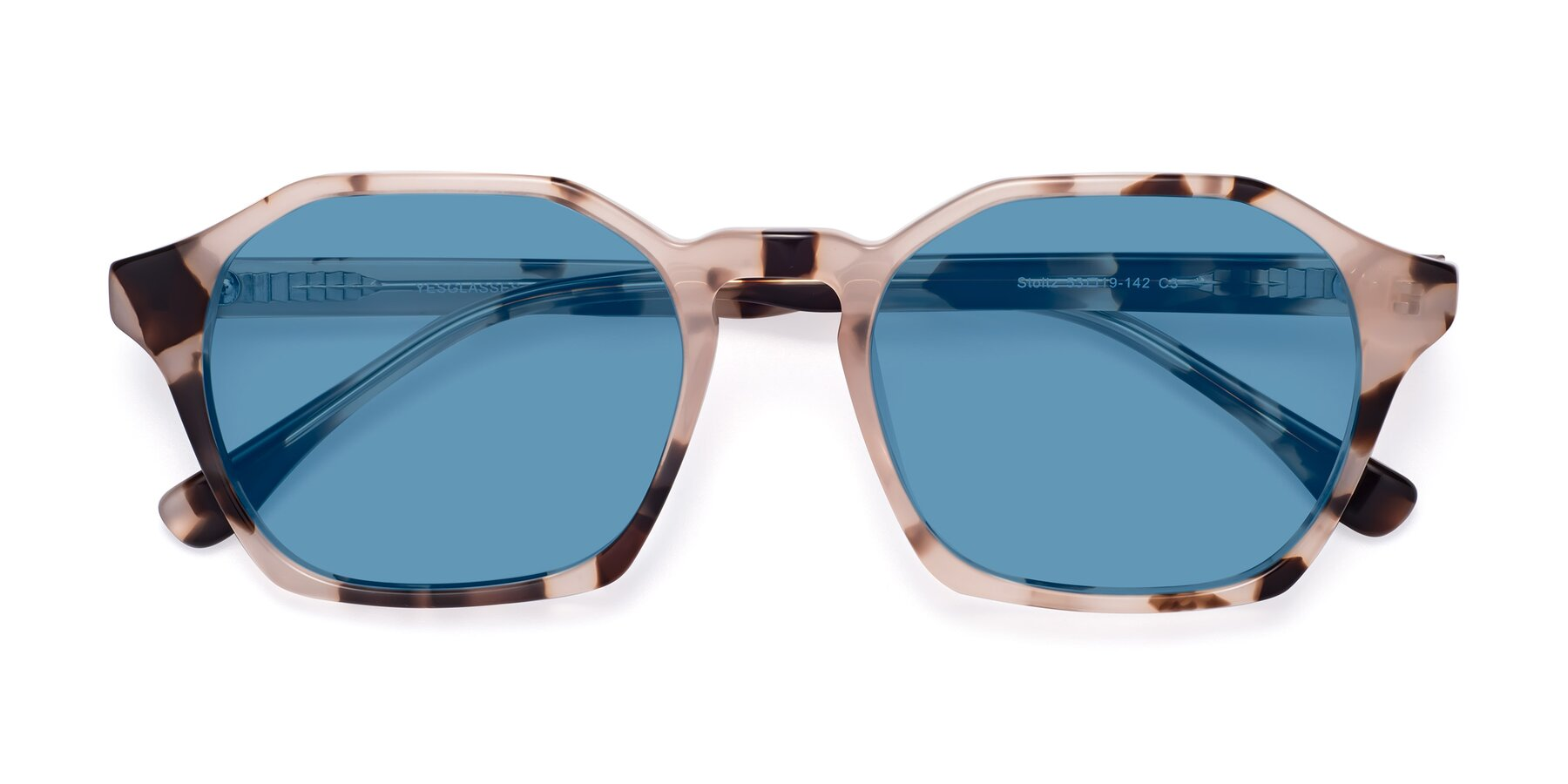 Folded Front of Stoltz in Leopard with Medium Blue Tinted Lenses