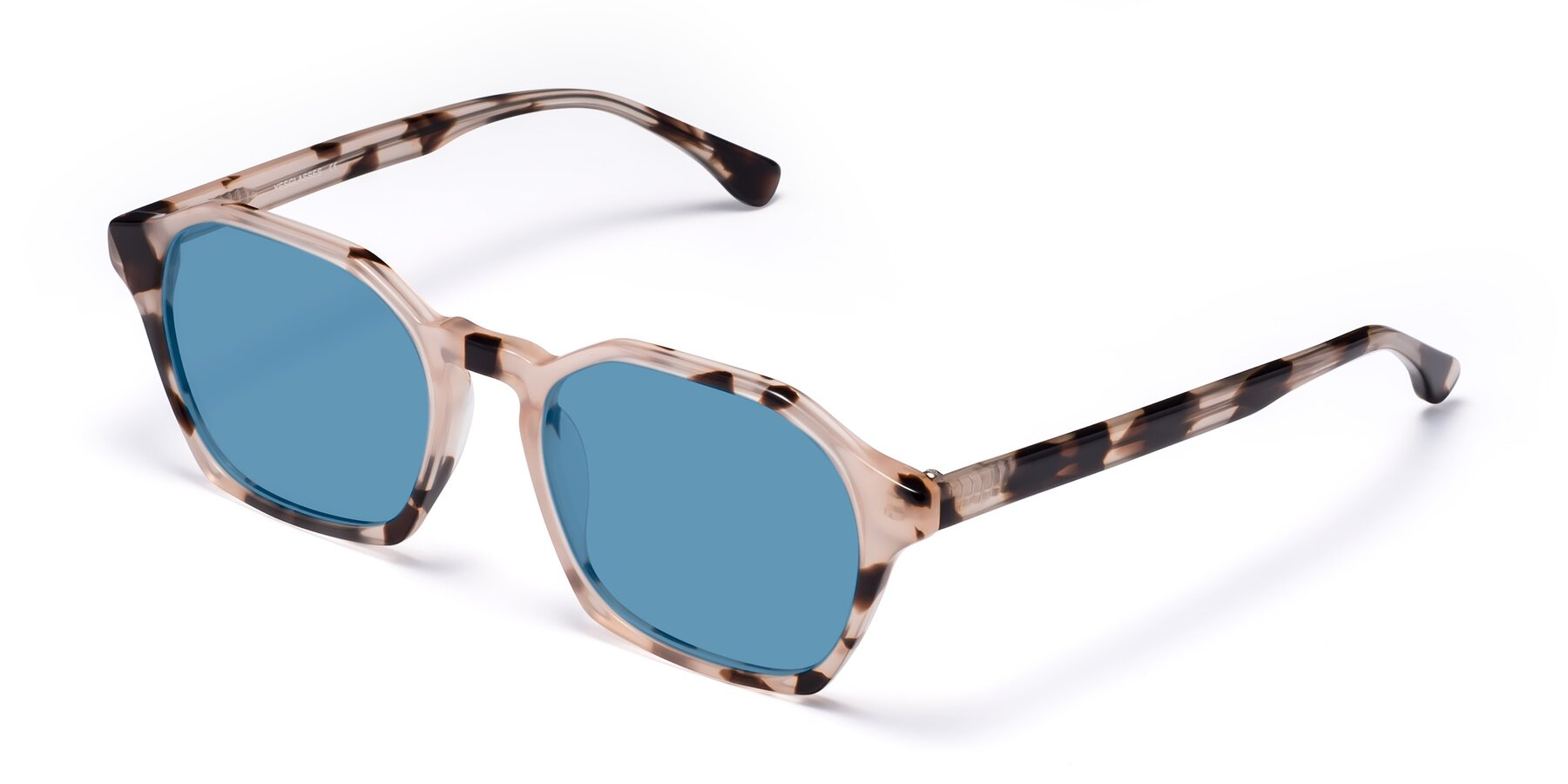 Angle of Stoltz in Leopard with Medium Blue Tinted Lenses
