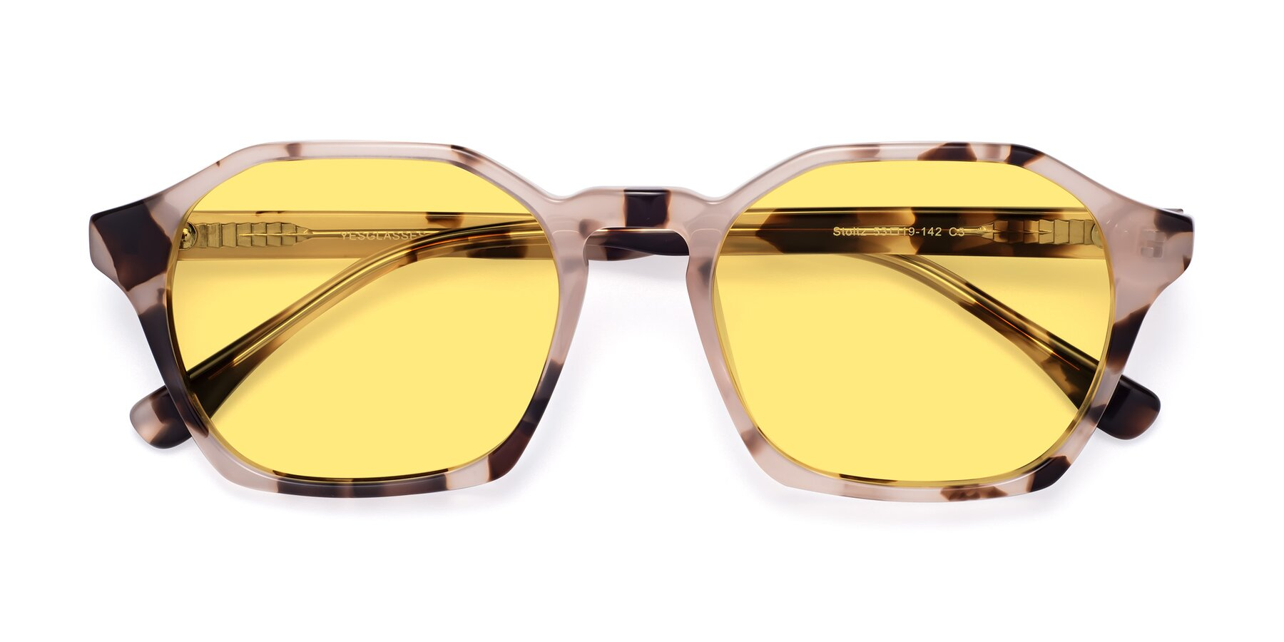 Folded Front of Stoltz in Leopard with Medium Yellow Tinted Lenses